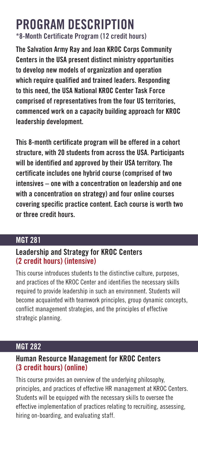Certificate in Kroc Center Leadership Pages 1 - 4 - Text