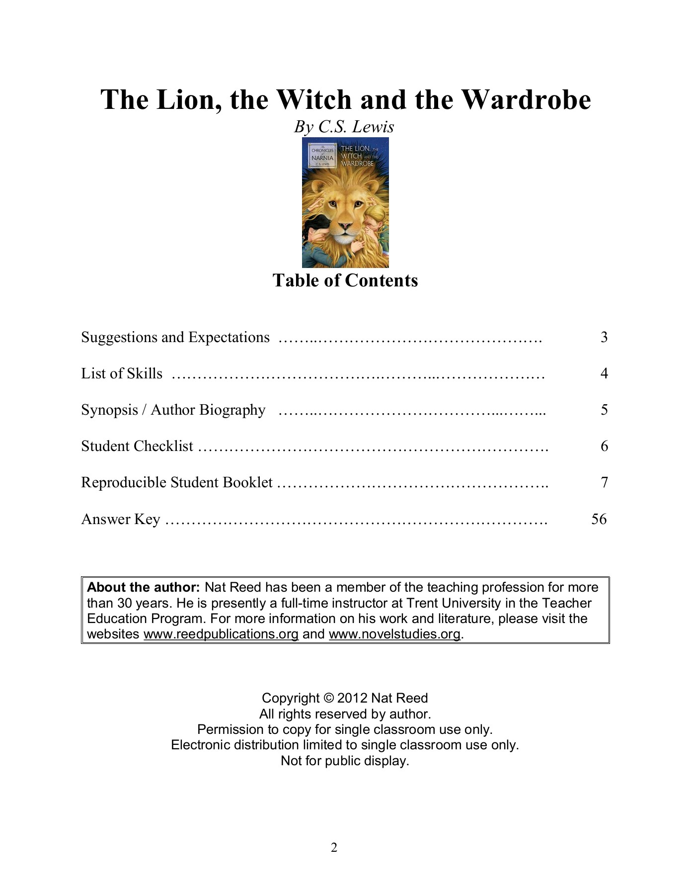 The Lion The Witch And The Wardrobe Novel Studies Pages 1