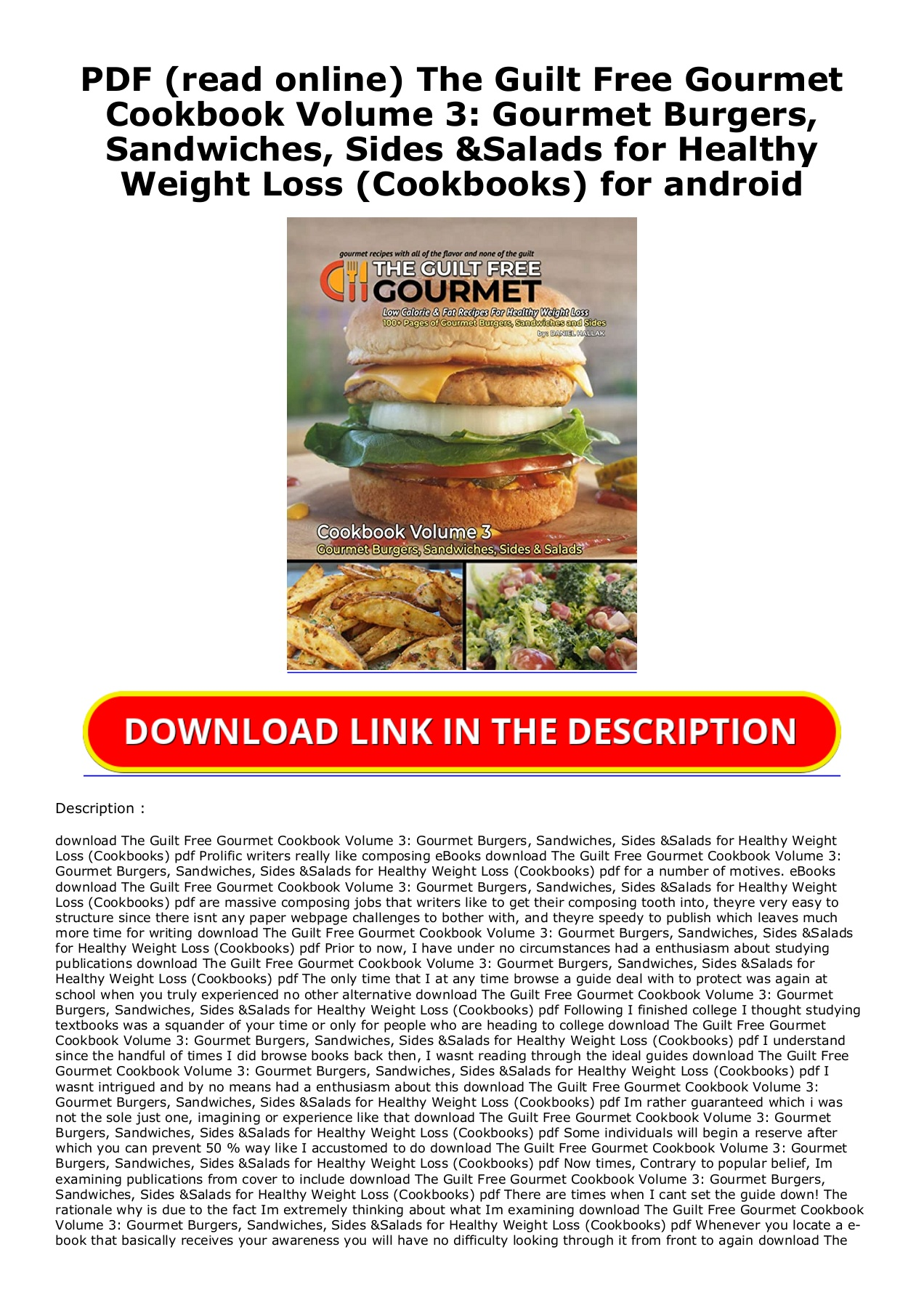 Pdf Read Online The Guilt Free Gourmet Cookbook Volume 3 Gourmet Burgers Sandwiches Sides Salads For Healthy Weight Loss Cookbooks For Android Flip Ebook Pages 1 2 Anyflip Anyflip