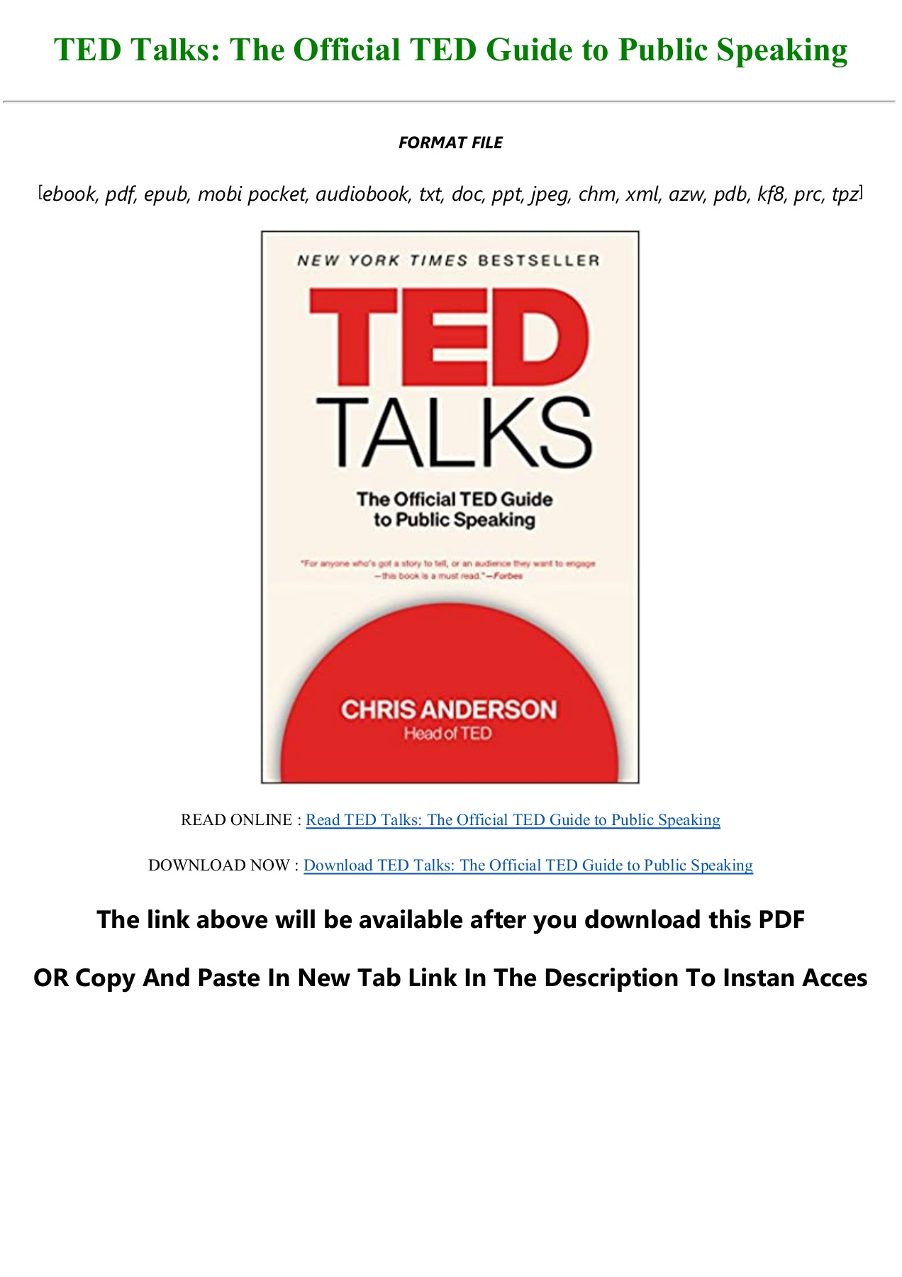 download !pdf ted talks: the official ted guide to public speaking pre order  anyflip