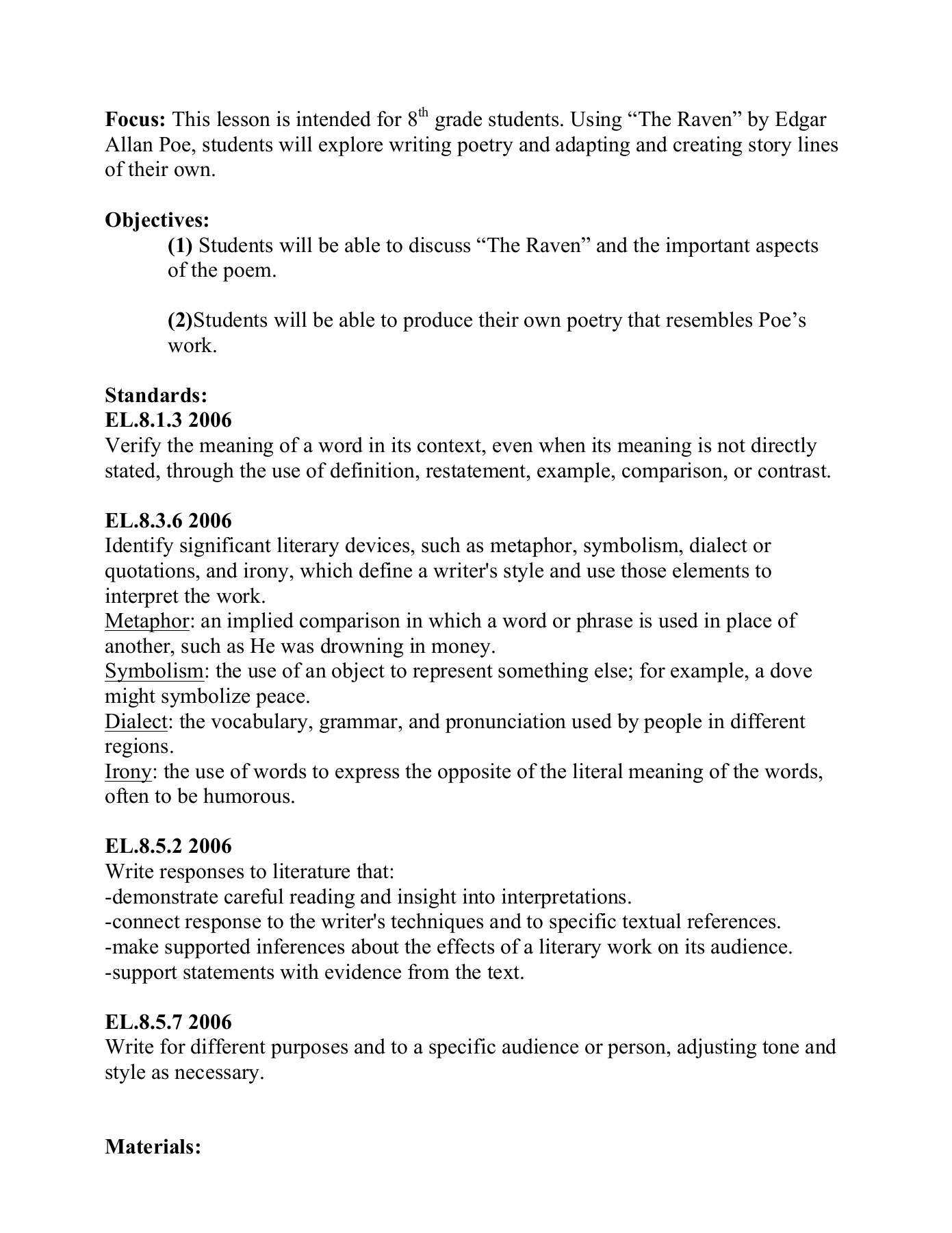 The Raven Lesson Plan Ball State University Pages 1 11