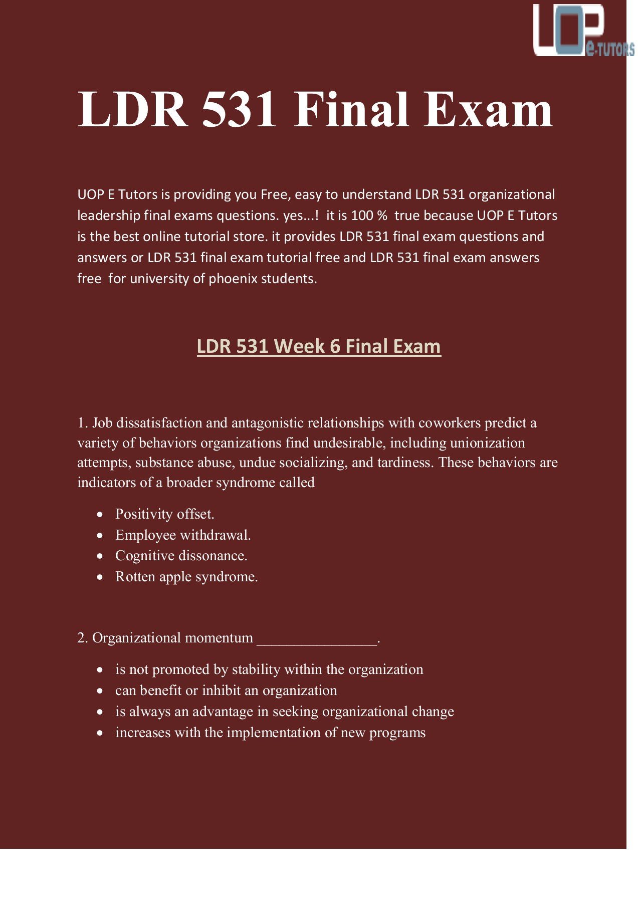 LDR 531 Final Exam Answers : LDR 531 Final Exam | UOP E Tutors