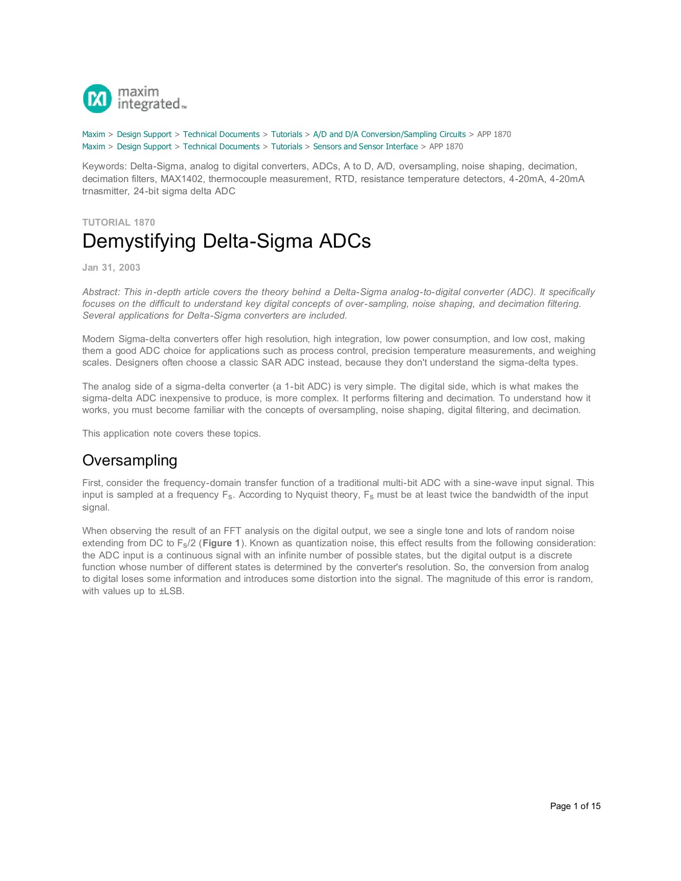 TUTORIAL 1870 Demystifying Delta-Sigma ADCs Pages 1 - 15