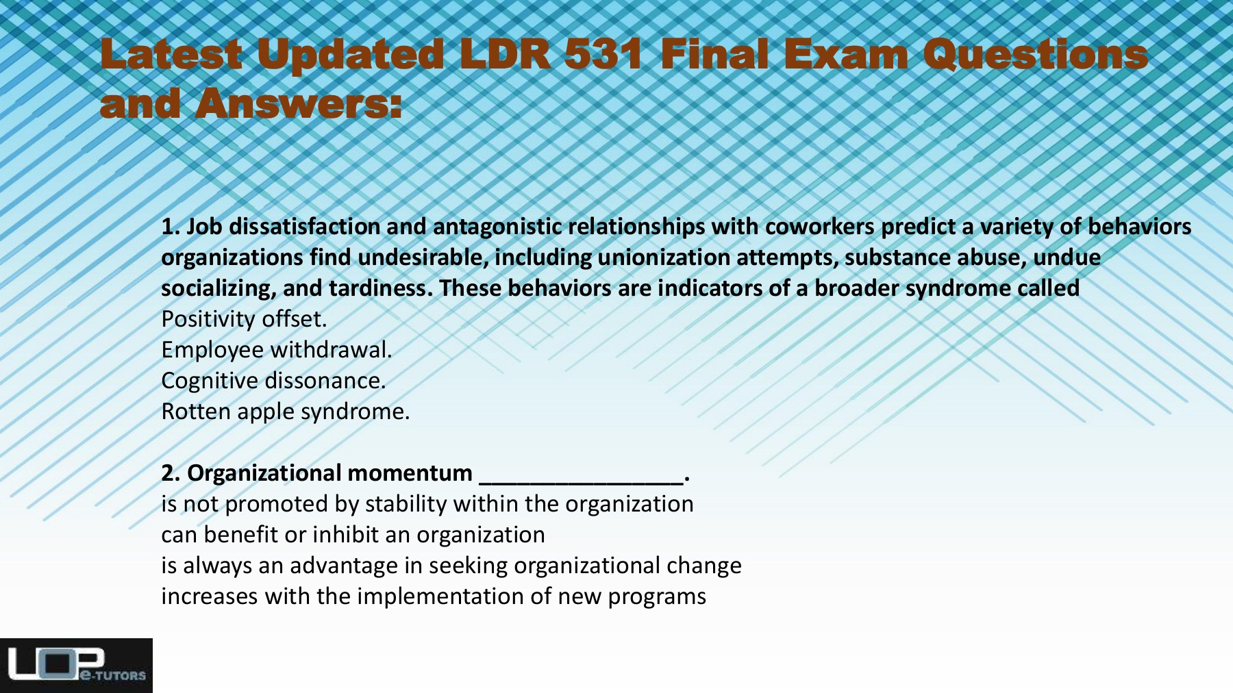 LDR 531 Final Exam Questions Pdf Download at Uop E Tutors Pages 1