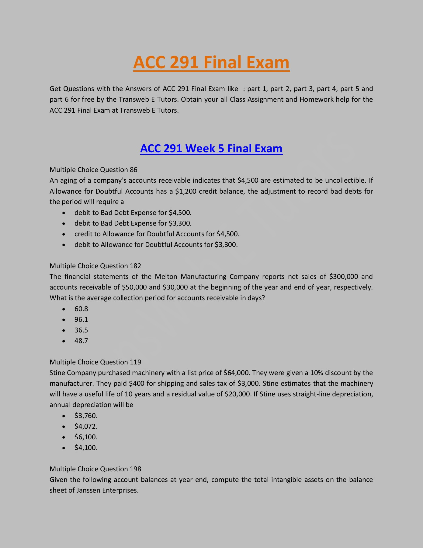 ACC 291 Final Exam - Questions & Answers : Part 1, 2, 3, 4