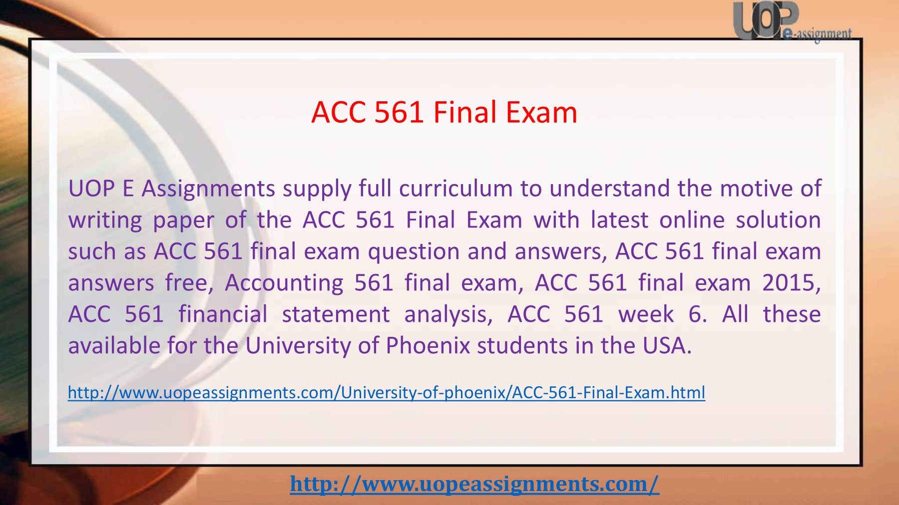 ACC 561 Final Exam - UOP E Assignments Pages 1 - 18 - Text