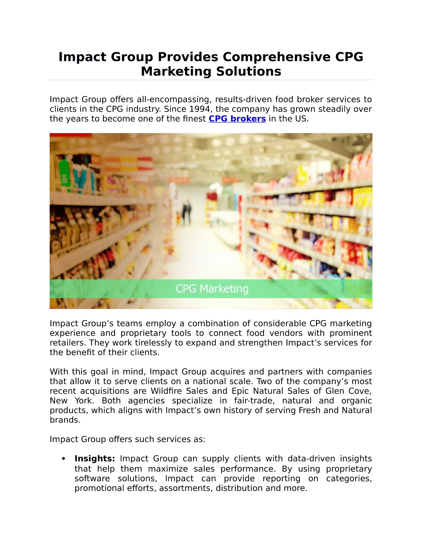 Impact Group Provides Comprehensive CPG Marketing Solutions