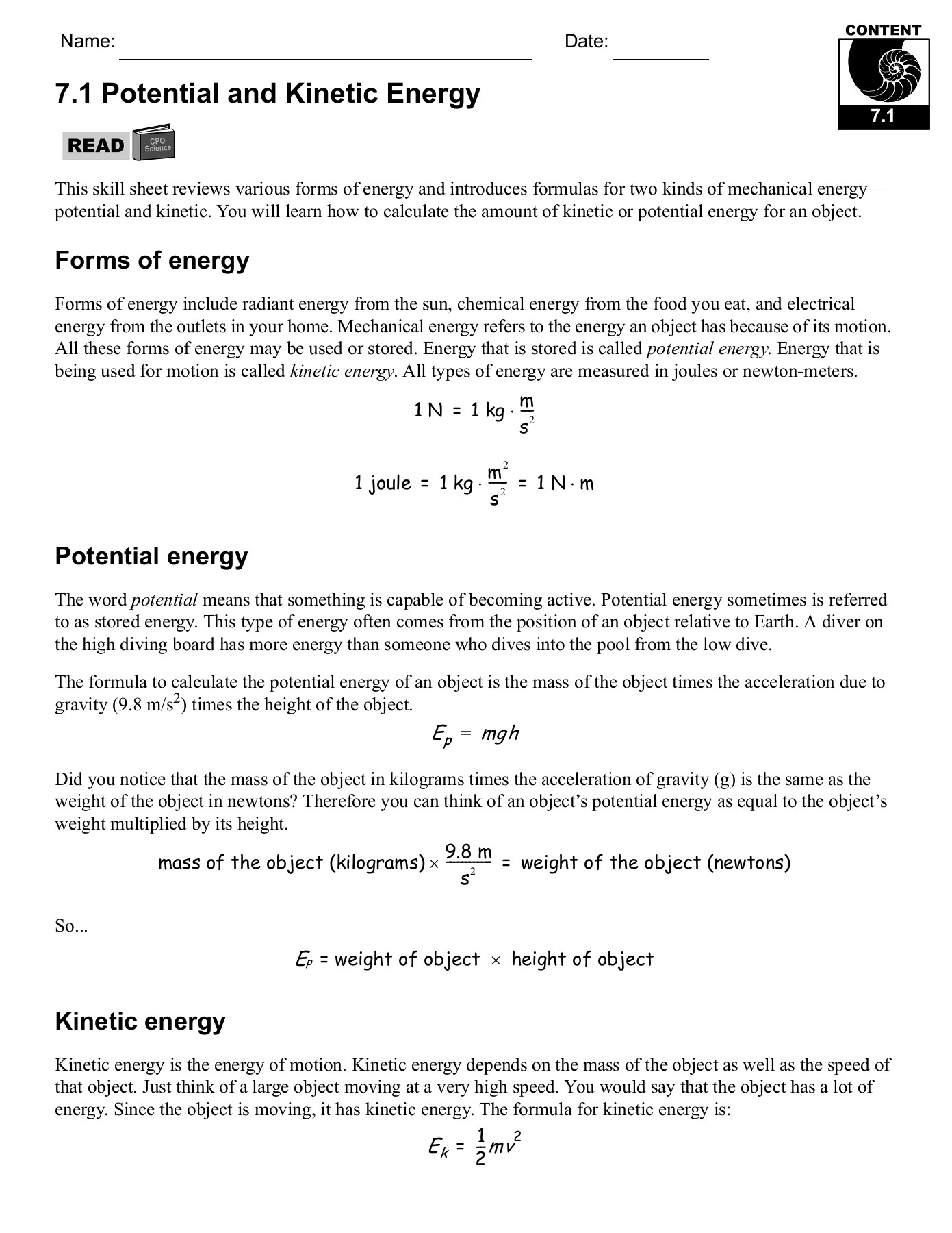 7.1 Potential and Kinetic Energy - CPO Science