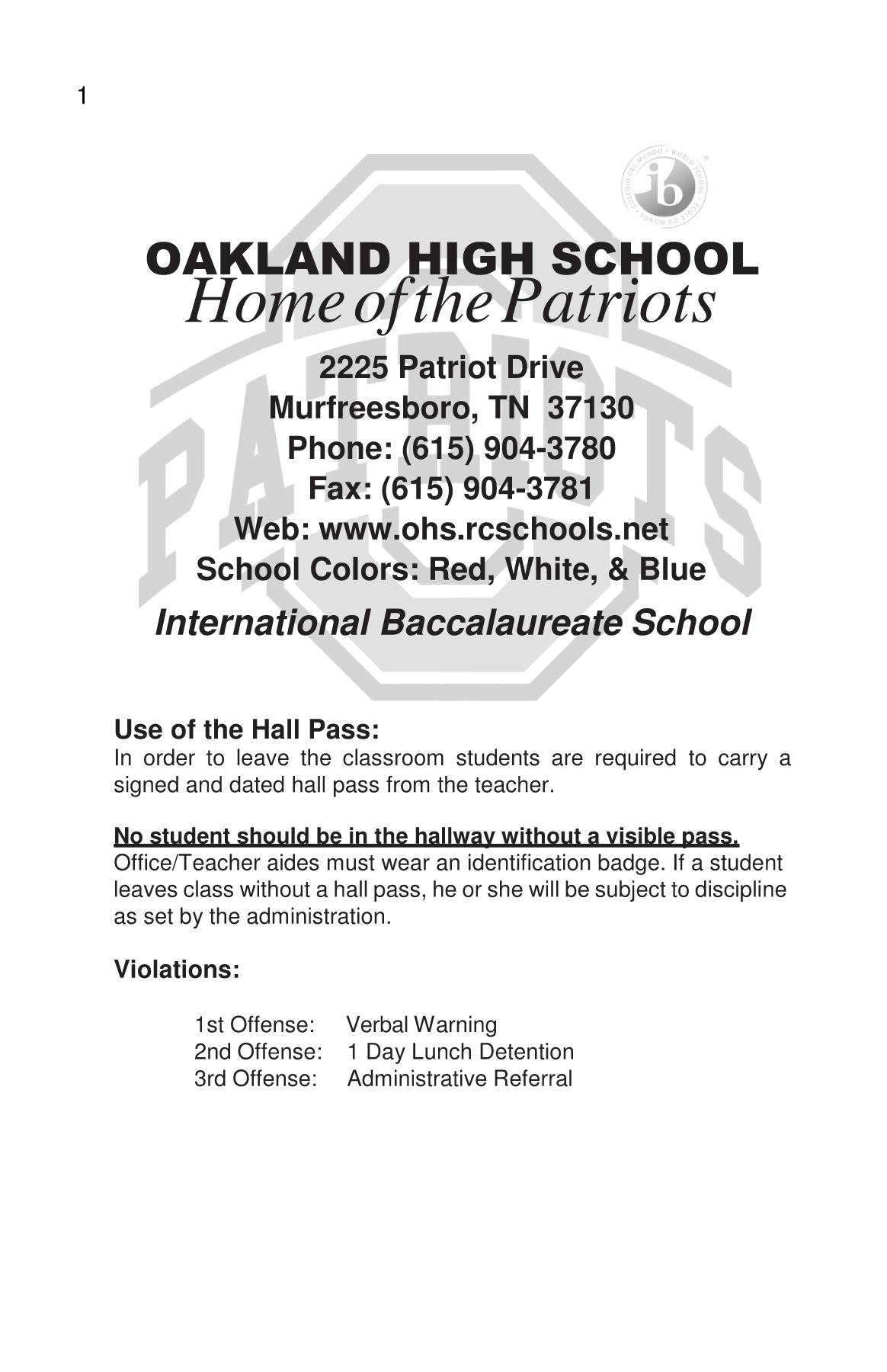 OHS 2018 Student Agenda Handbook Pages 1 - 35 - Text Version