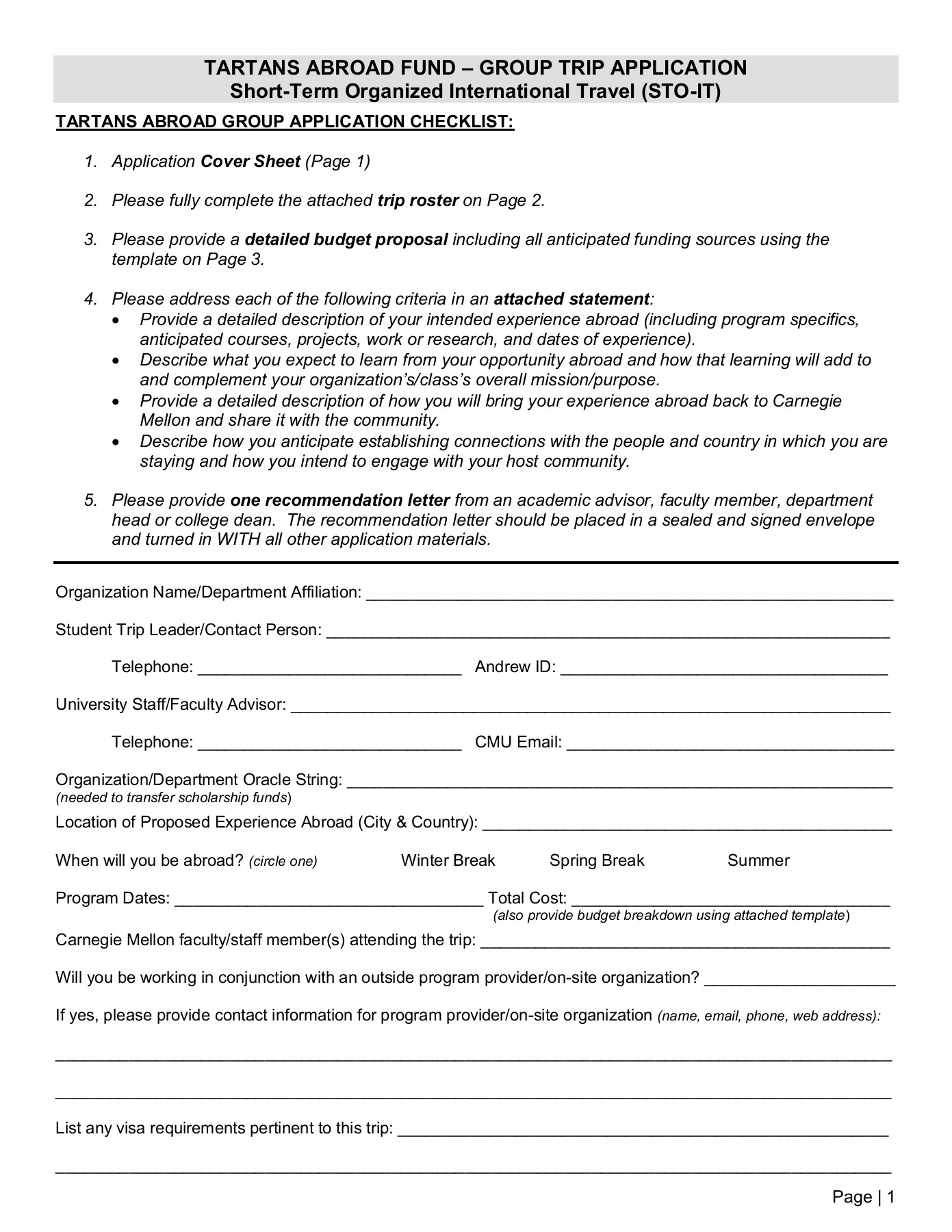 TARTANS ABROAD FUND- GROUP TRIP APPLICATION Pages 1 - 4 ...