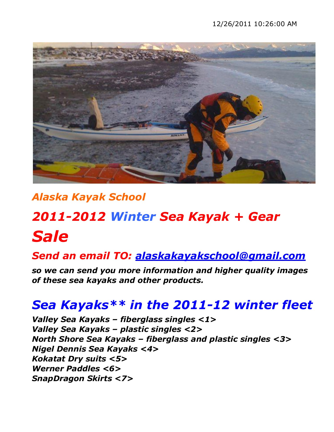 2011-2012 Winter Sea Kayak + Gear Sale Pages 1 - 29 - Text