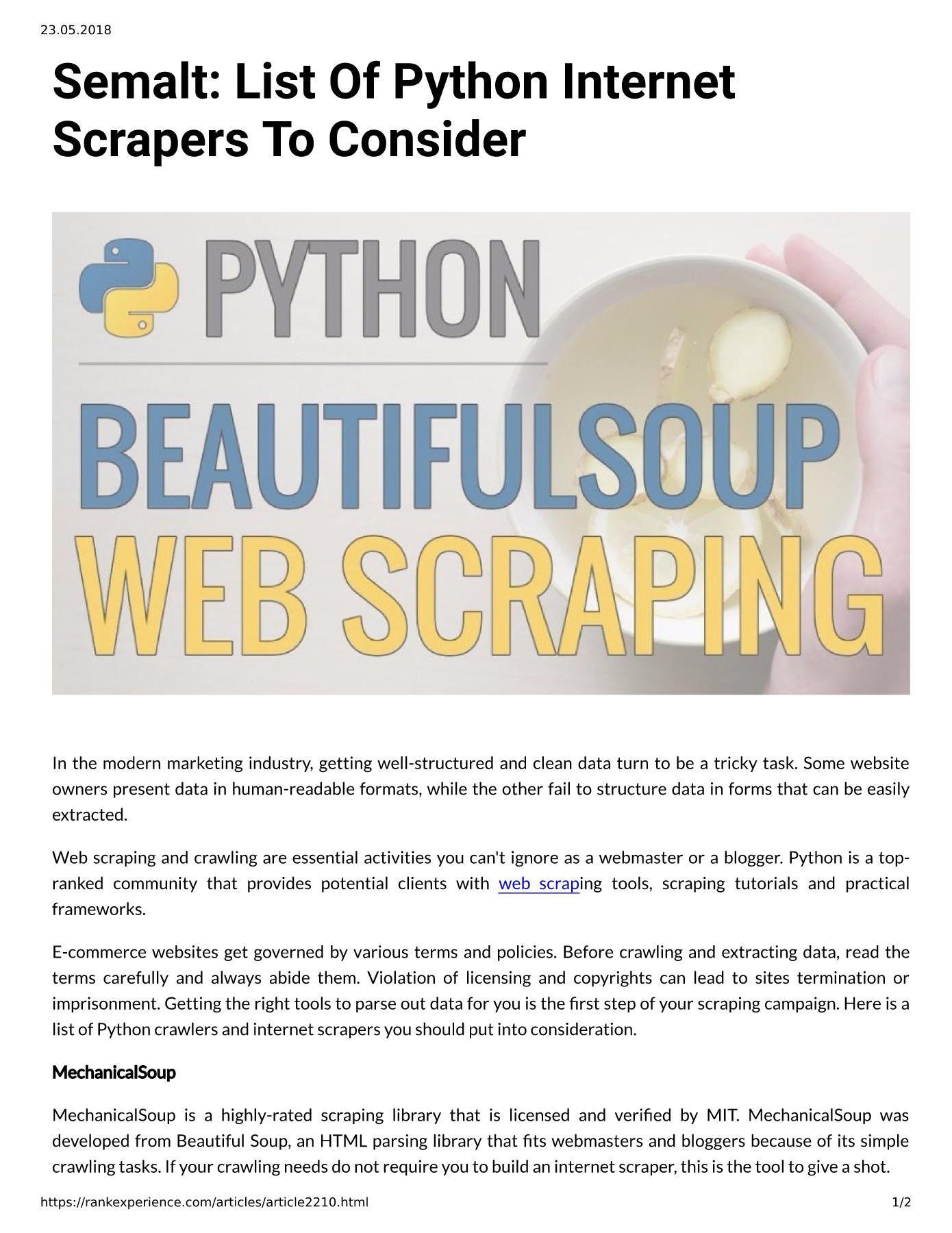 Semalt: List Of Python Internet Scrapers To Consider Pages 1 - 2