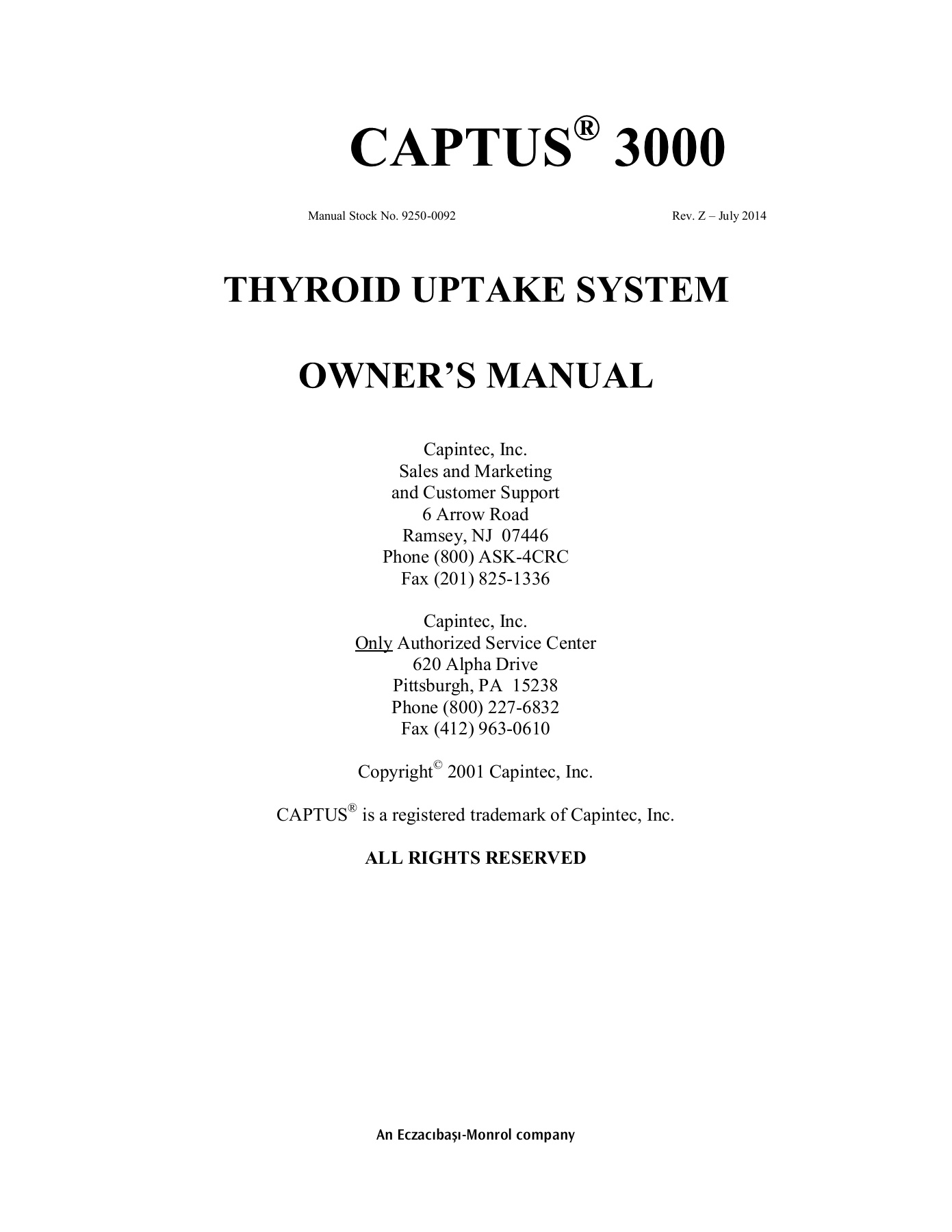 Captus 3000 Thyroid Uptake System Manual Revision Z Capintec Inc