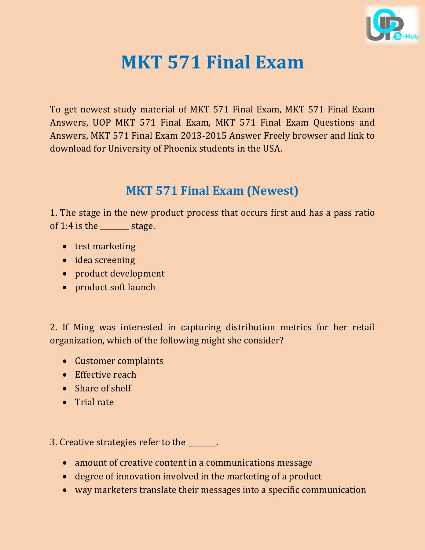 UOP E Help : MKT 571 Final Exam 2015 Questions and Answers