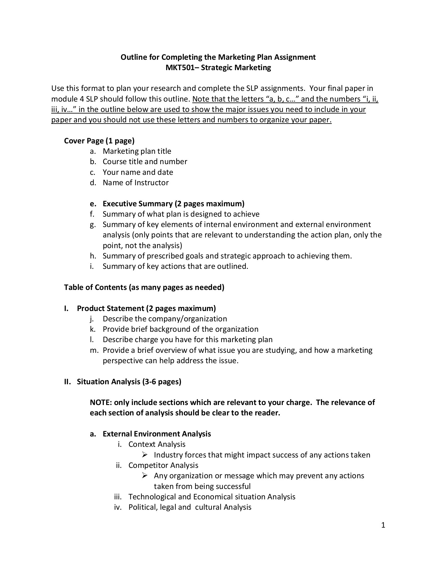 Strategic analysis cover page essay