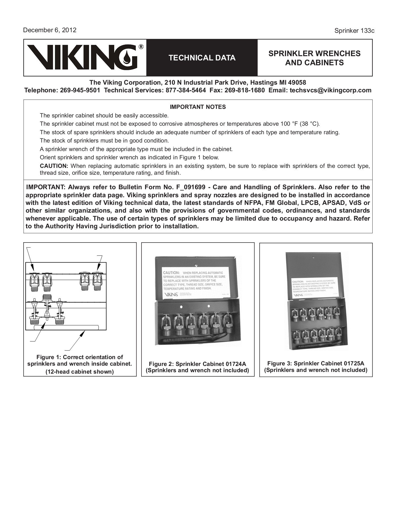 TECHNICAL DATA SPRINKLER WRENCHES AND CABINETS Pages 1 - 6