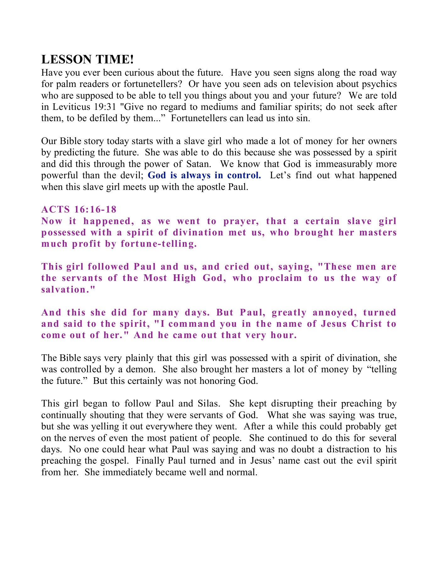 Paul And Silas Are Imprisoned Acts 16:16-40 Pages 1 - 9