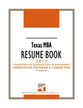 mba resume book