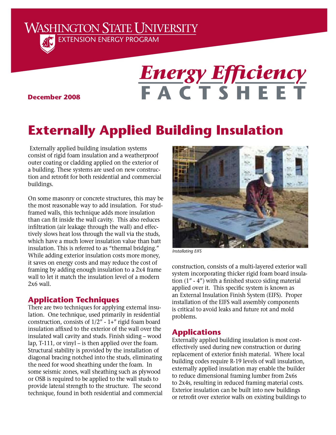 Externally Applied Building Insulation - WSU Energy Program