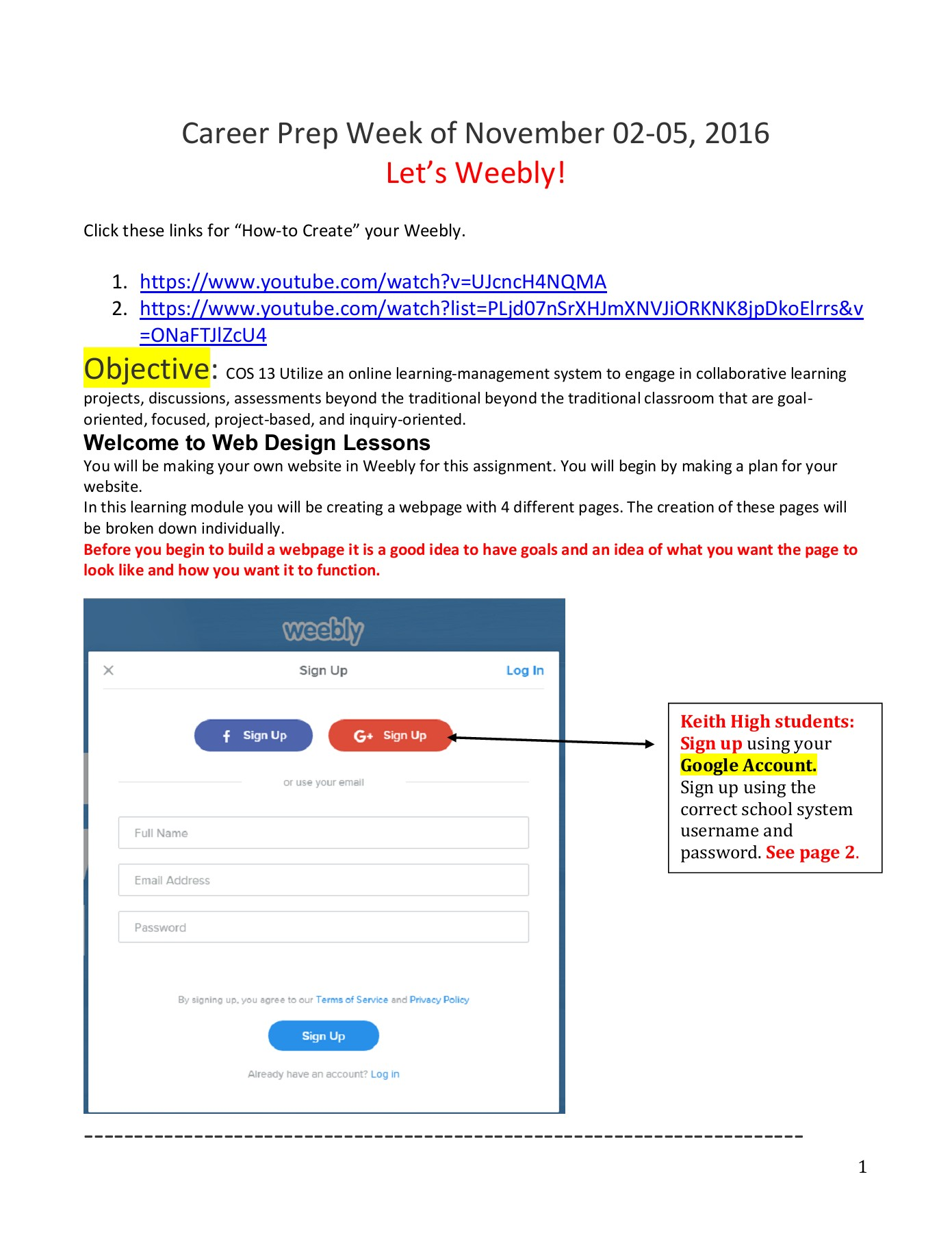 Weebly Website Creation How-to 14-18 November 2016 Pages 1 - 28