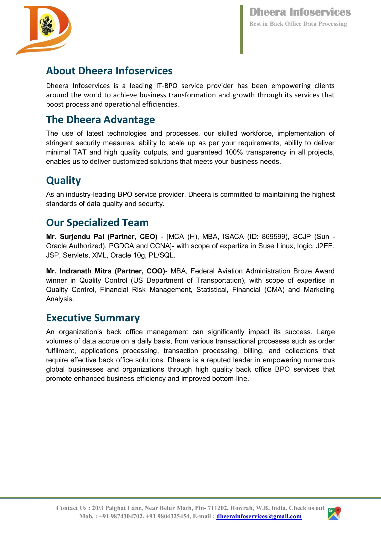 BACK OFFICE OUTSOURCING PROPOSAL