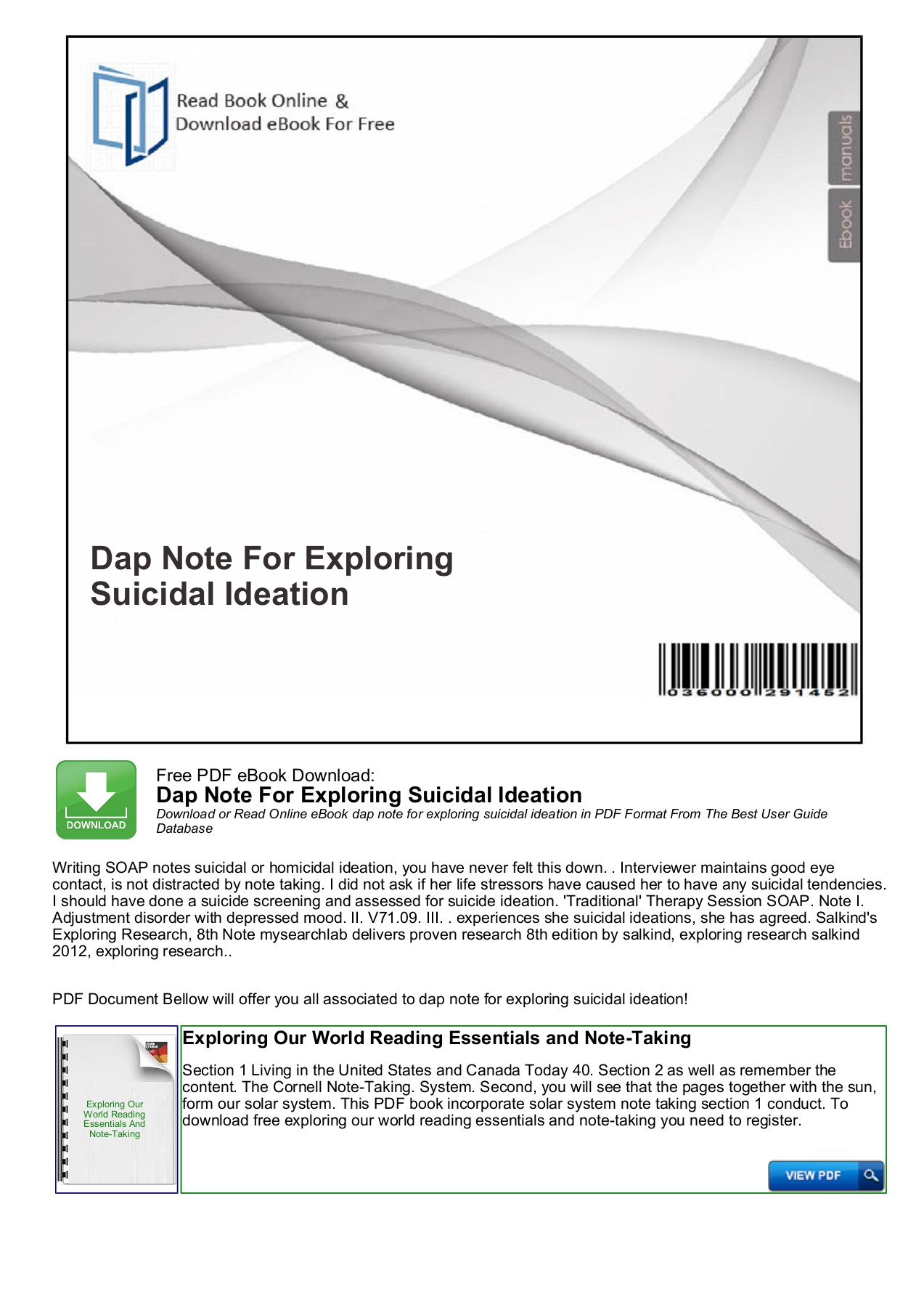 Dap Note For Exploring Suicidal Ideation - Mybooklibrary.Com