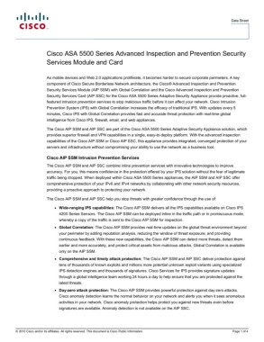 Cisco ASA 5500 Series Advanced Inspection and Prevention