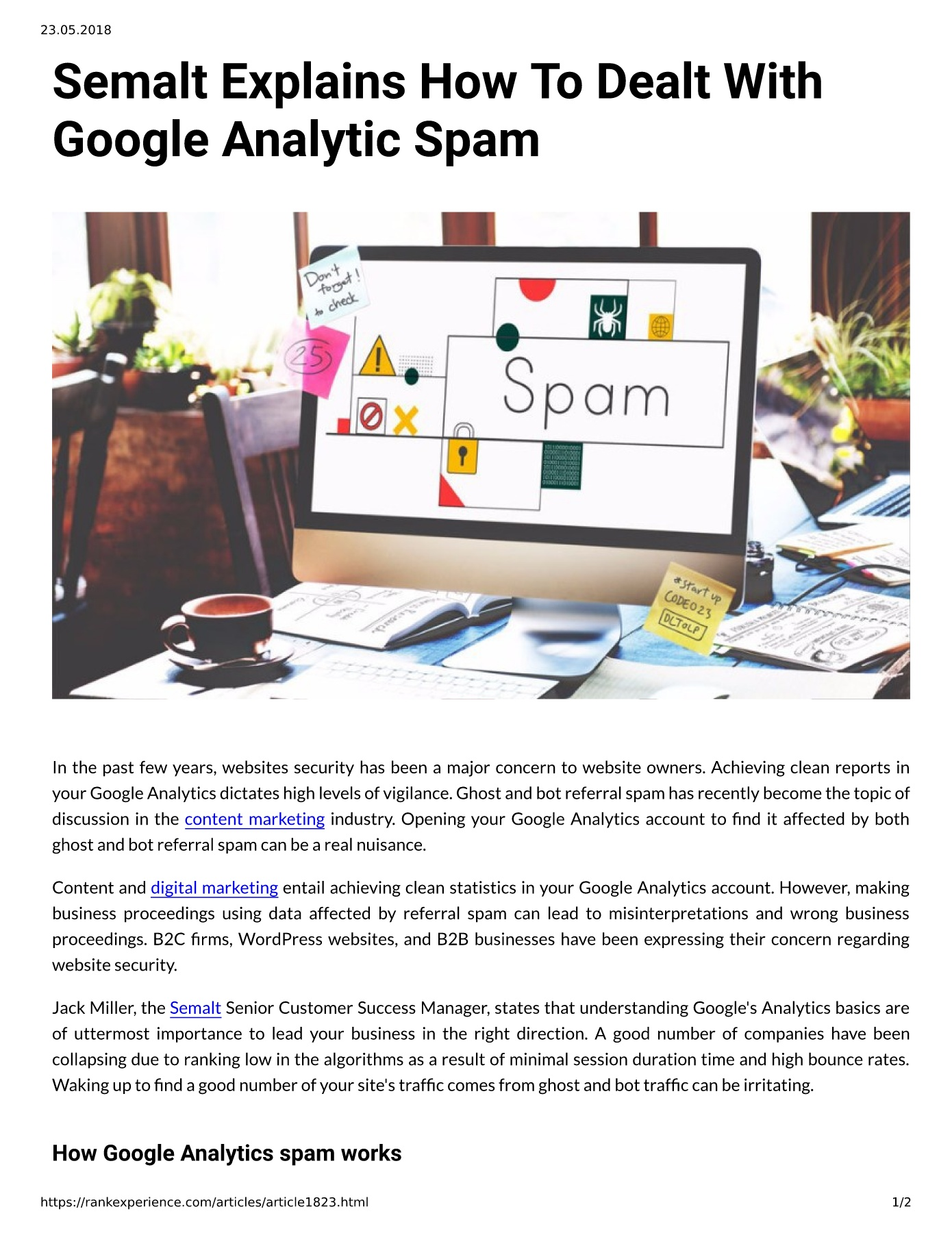 Semalt Explains How To Dealt With Google Analytic Spam Pages 1 - 2