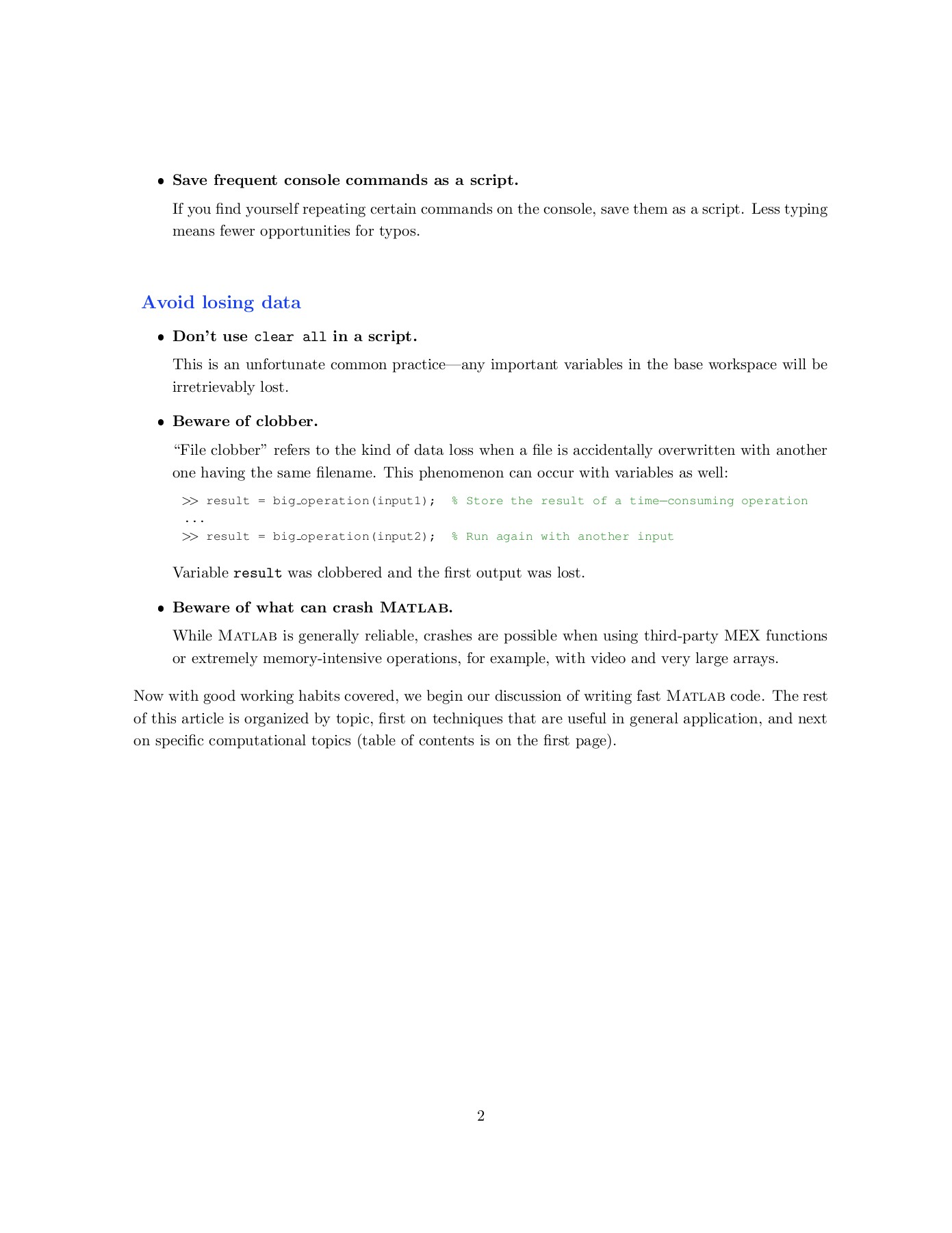 Writing Fast MATLAB Code - SAL Pages 1 - 33 - Text Version