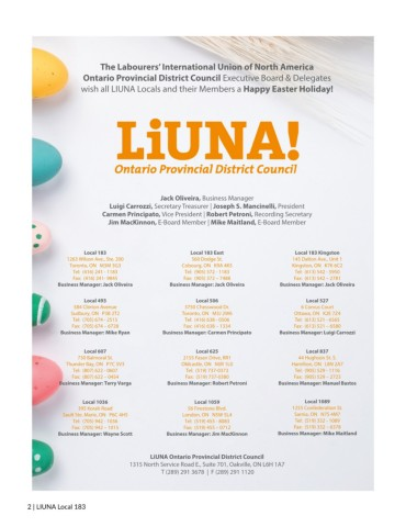 LiUNA 183 Magazine - 2019 Easter Pages 1 - 40 - Text Version