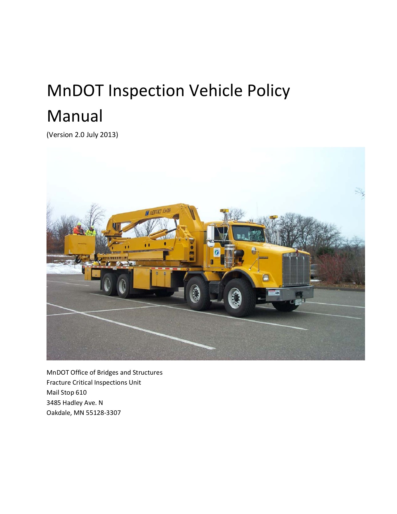 Inspection Vehicle Policy Manual V2 0 MnDOT Pages 1 - 50