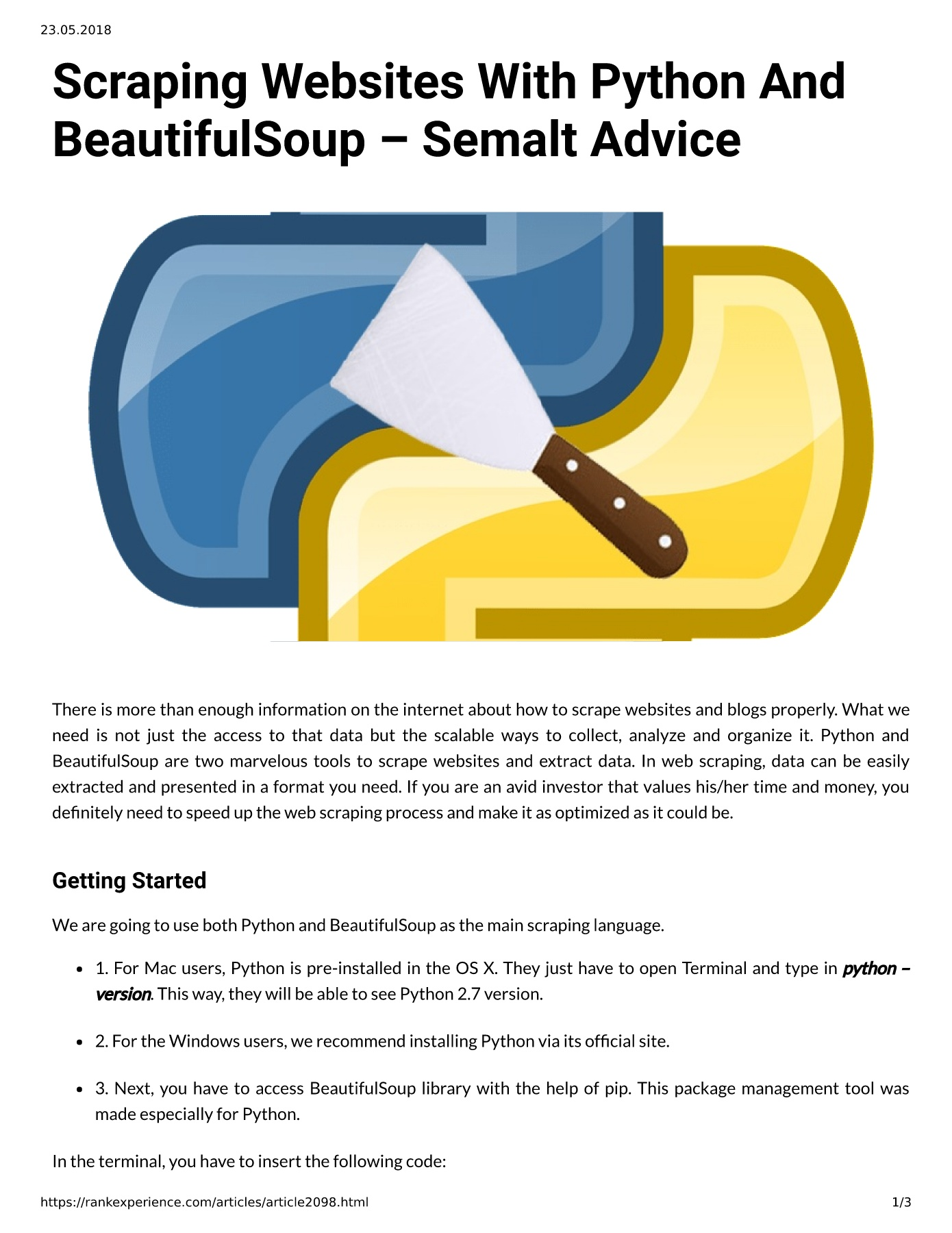 Scraping W ebsites With P ython A nd BeautifulSoup – Semalt Advice