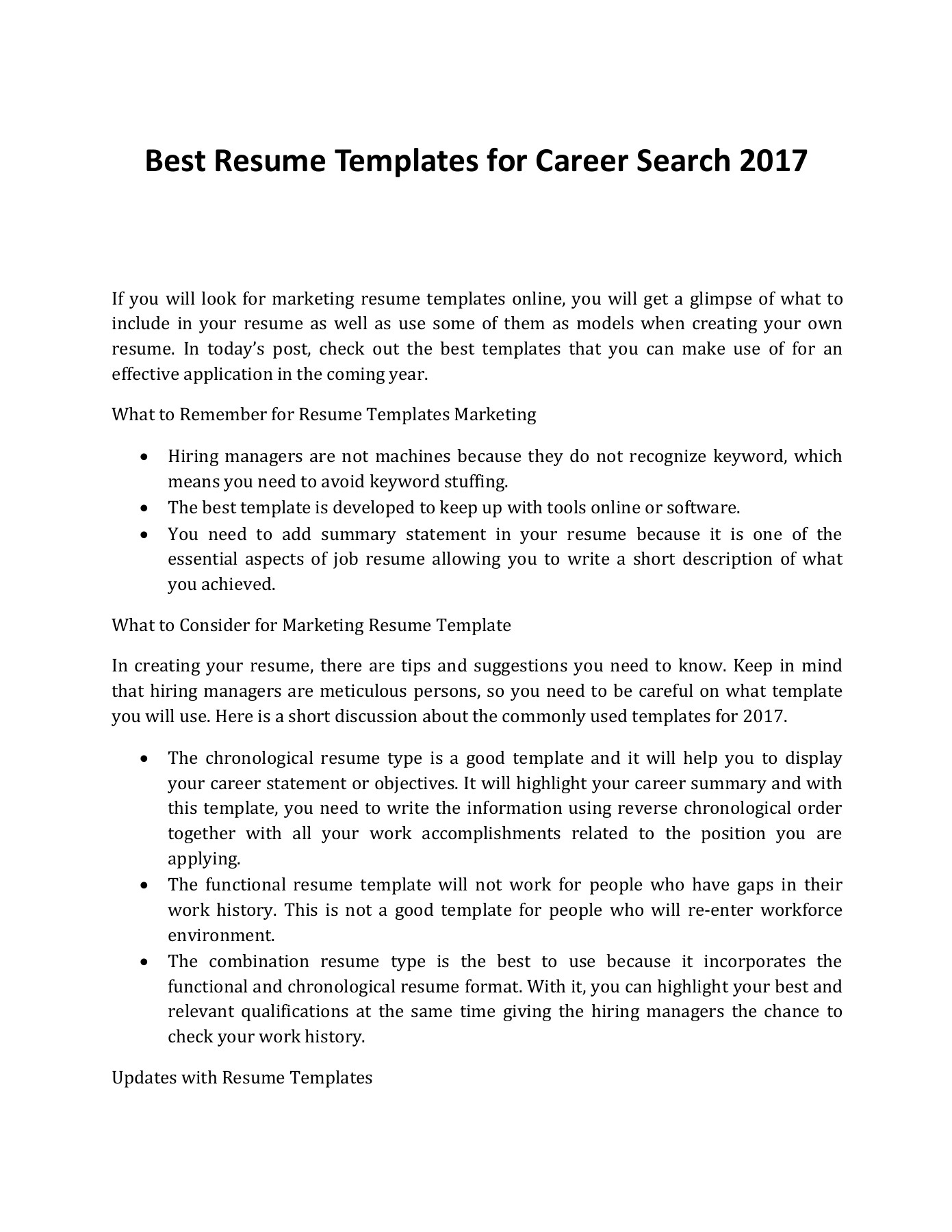 What Are the Best Resume Templates for Career Search 2017 ...