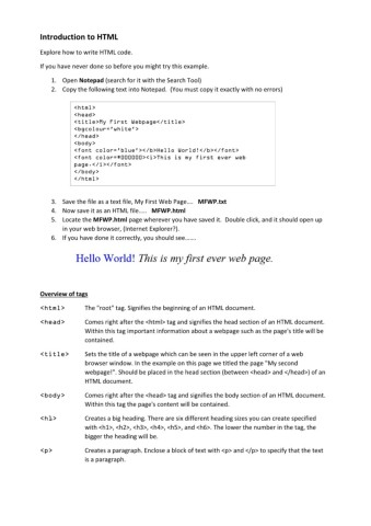 Introduction to HTML Pages 1 - 2 - Text Version | AnyFlip