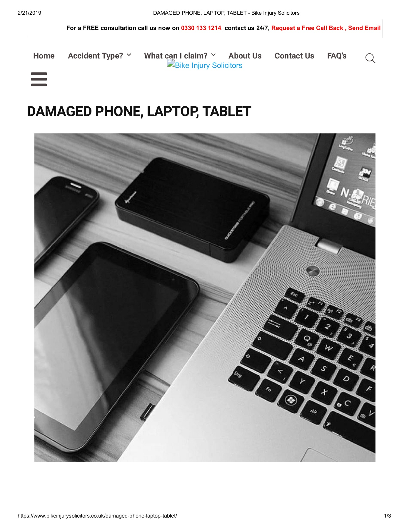 DAMAGED PHONE, LAPTOP, TABLET - Bike Injury Solicitors Pages