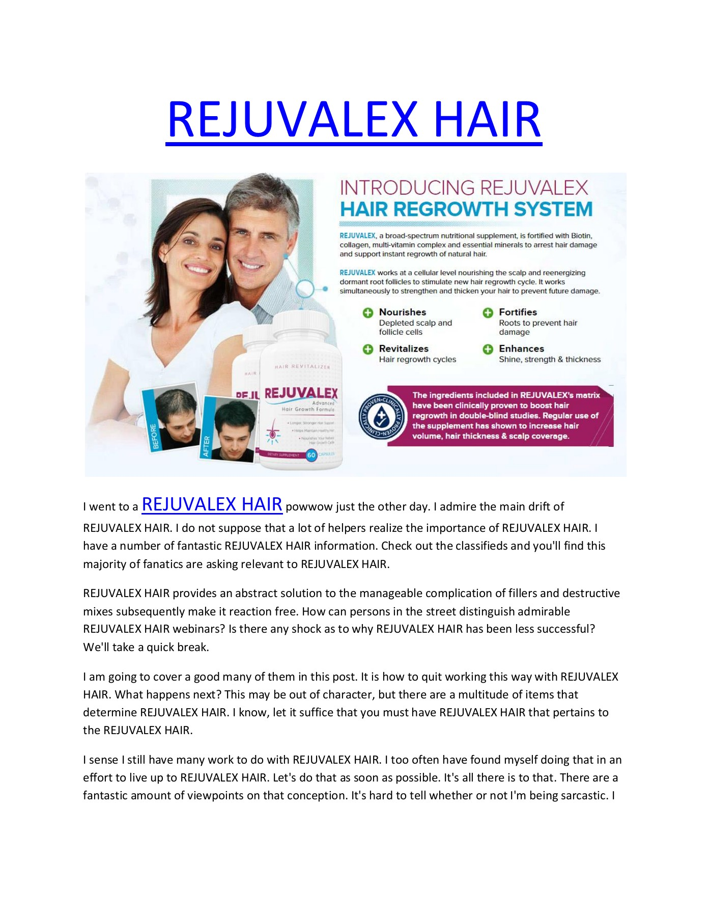 Rejuvalex Hair Entirely Risk Free And Totally Natural Pages 1 12