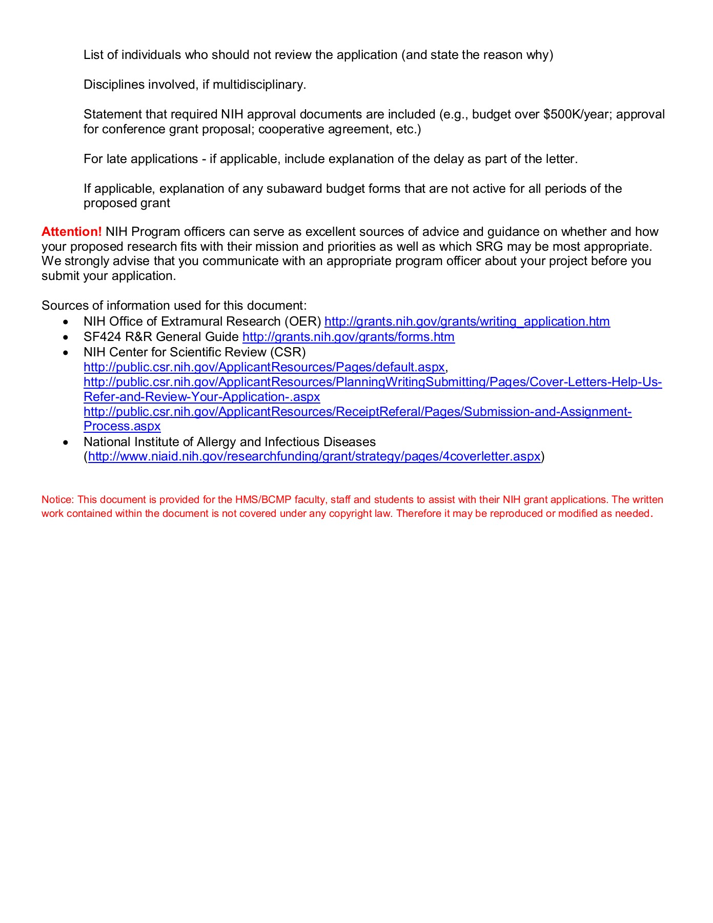 NIH Suggested Cover Letter Format Harvard University Pages