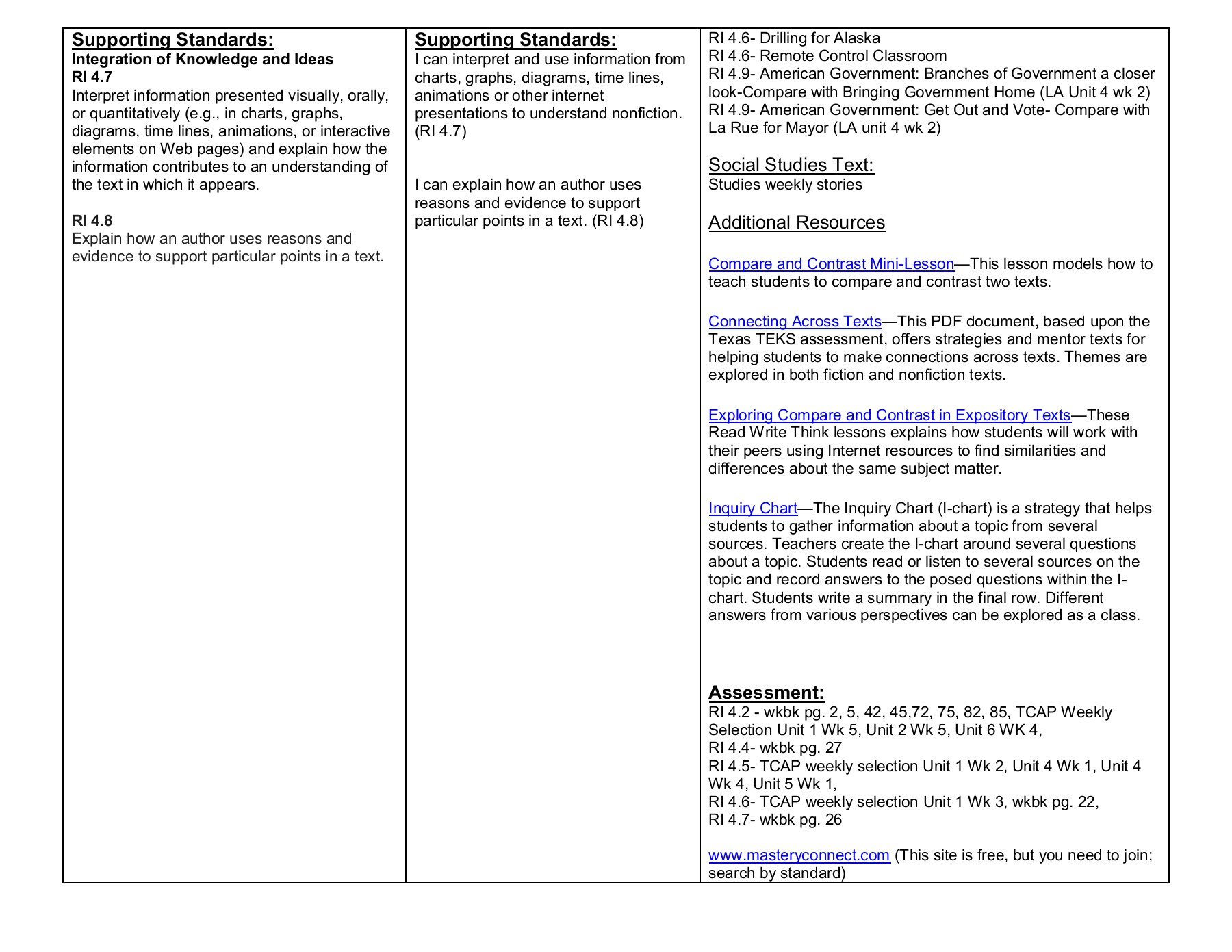 Fourth Grade :: ELA Curriculum Map Pages 1 - 15 - Text