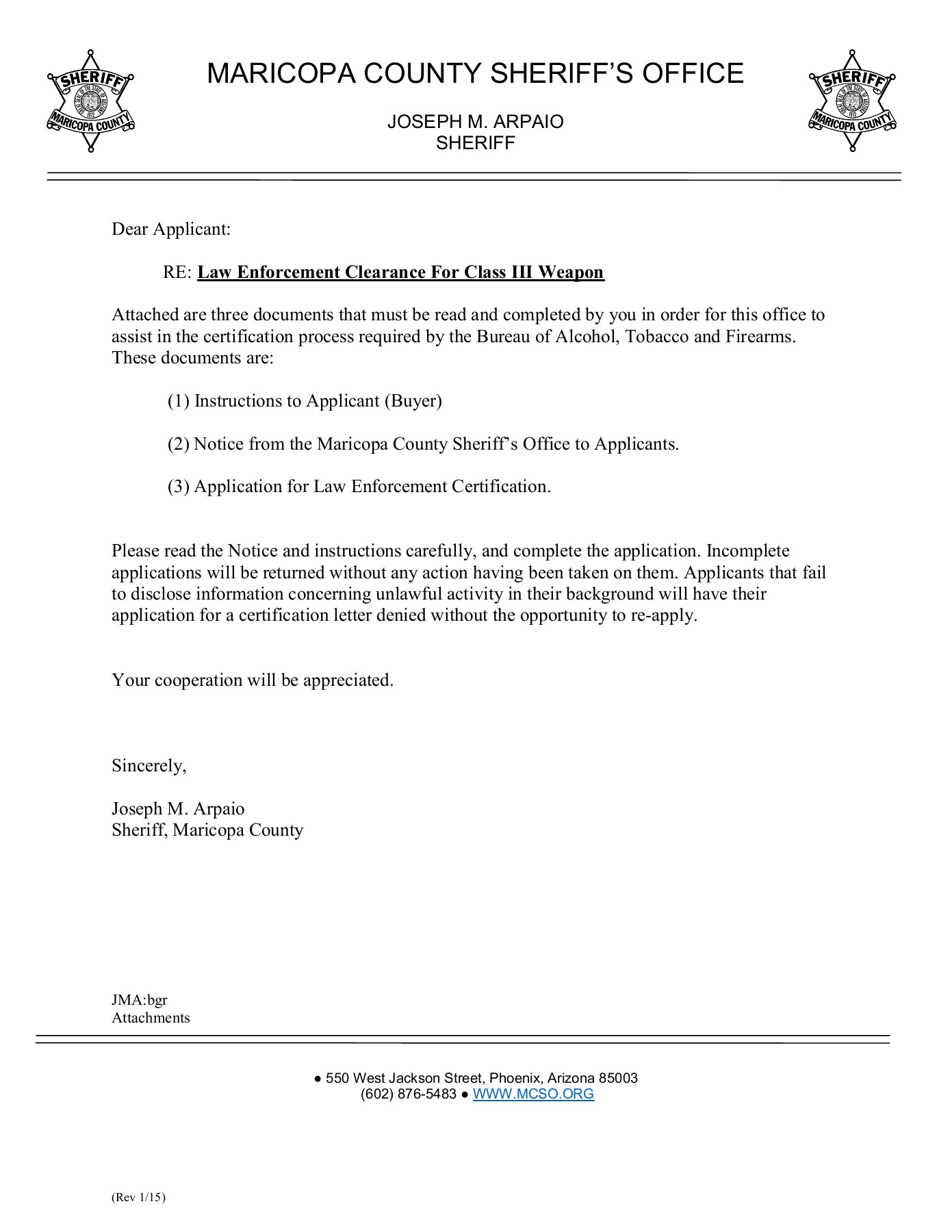 ATF Application - Maricopa County Sheriff's Office Pages 1