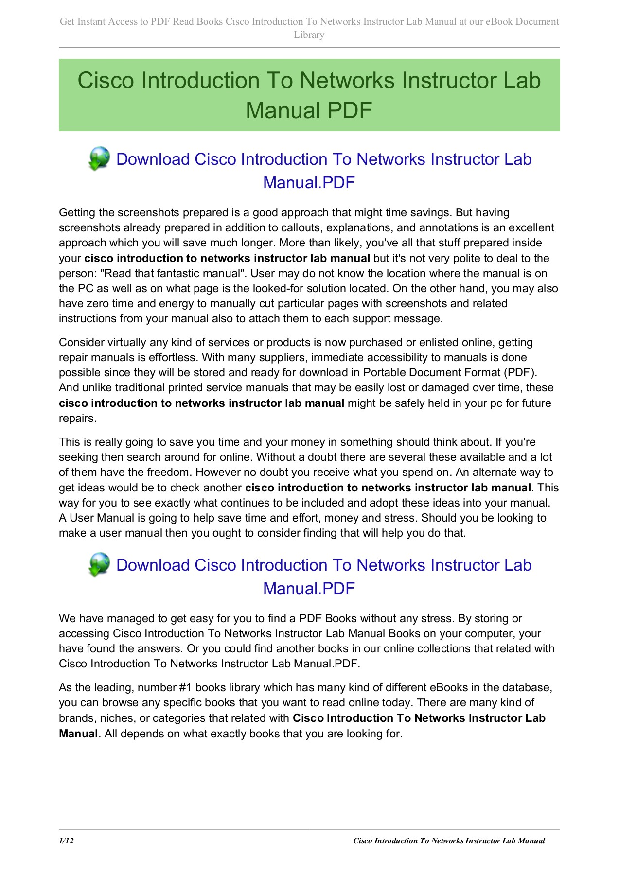 Cisco Introduction To Networks Instructor Lab Manual