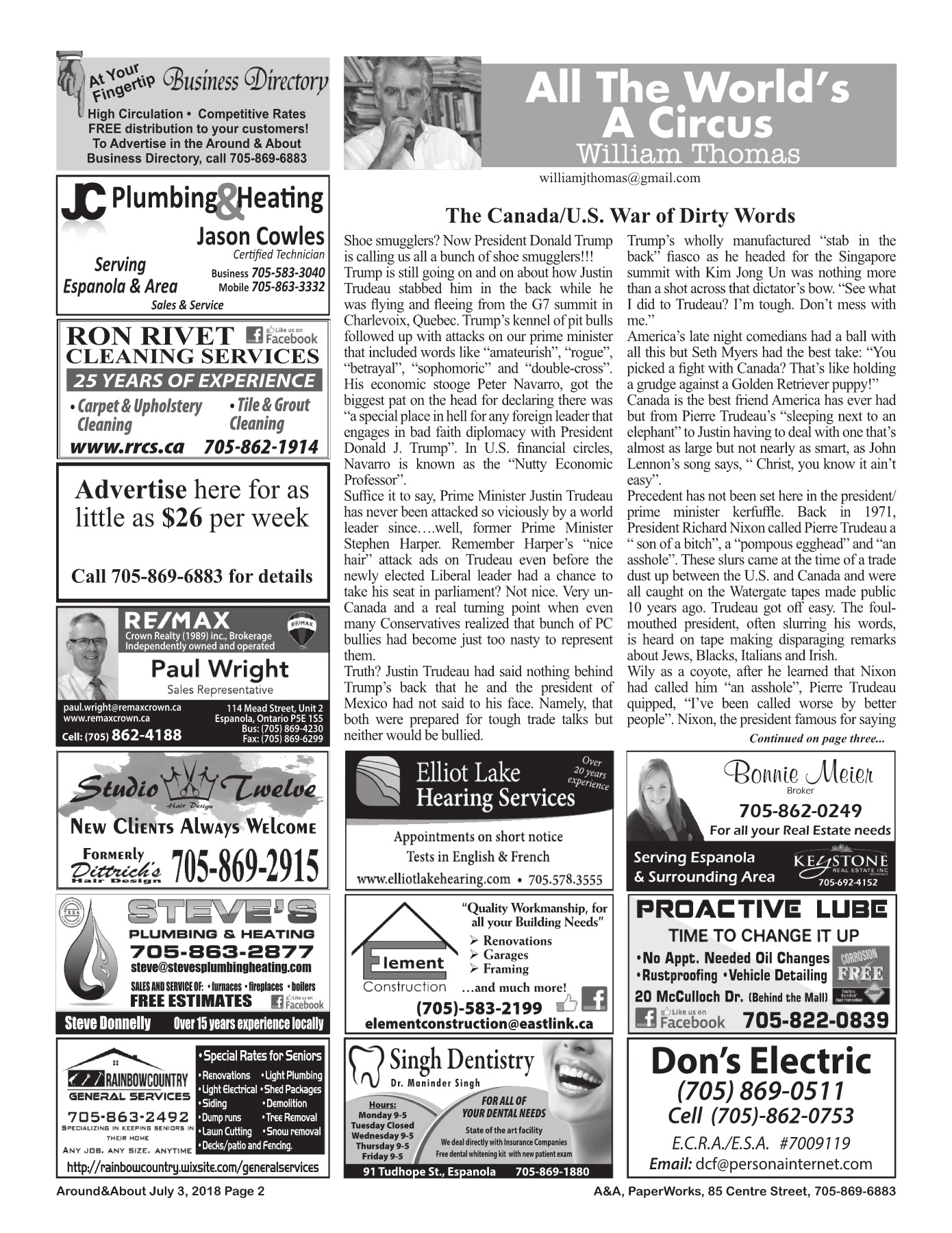 Around & About July 3, 2018 Issue 27, Vol 22 Pages 1 - 8 - Text