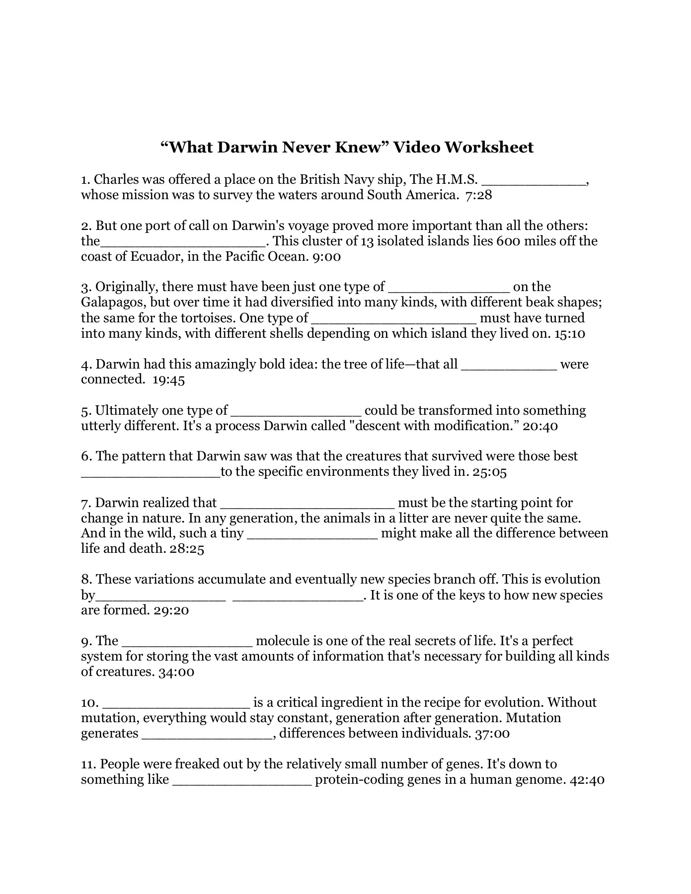 What Darwin Never Knew Worksheet - Welcome to Senior Biology