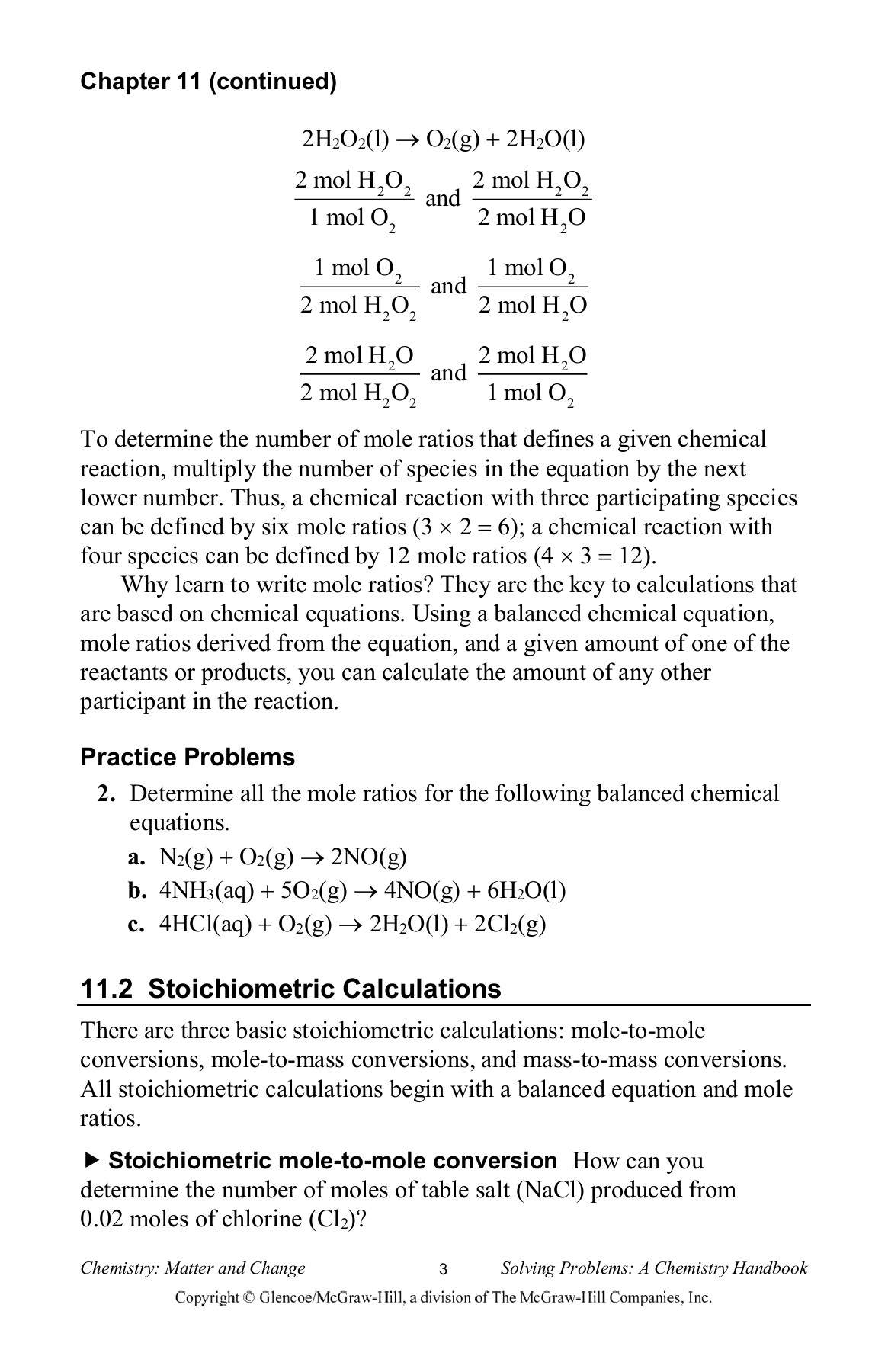 CHAPTER 11 Stoichiometry 11 1 Defining Stoichiometry Pages 1
