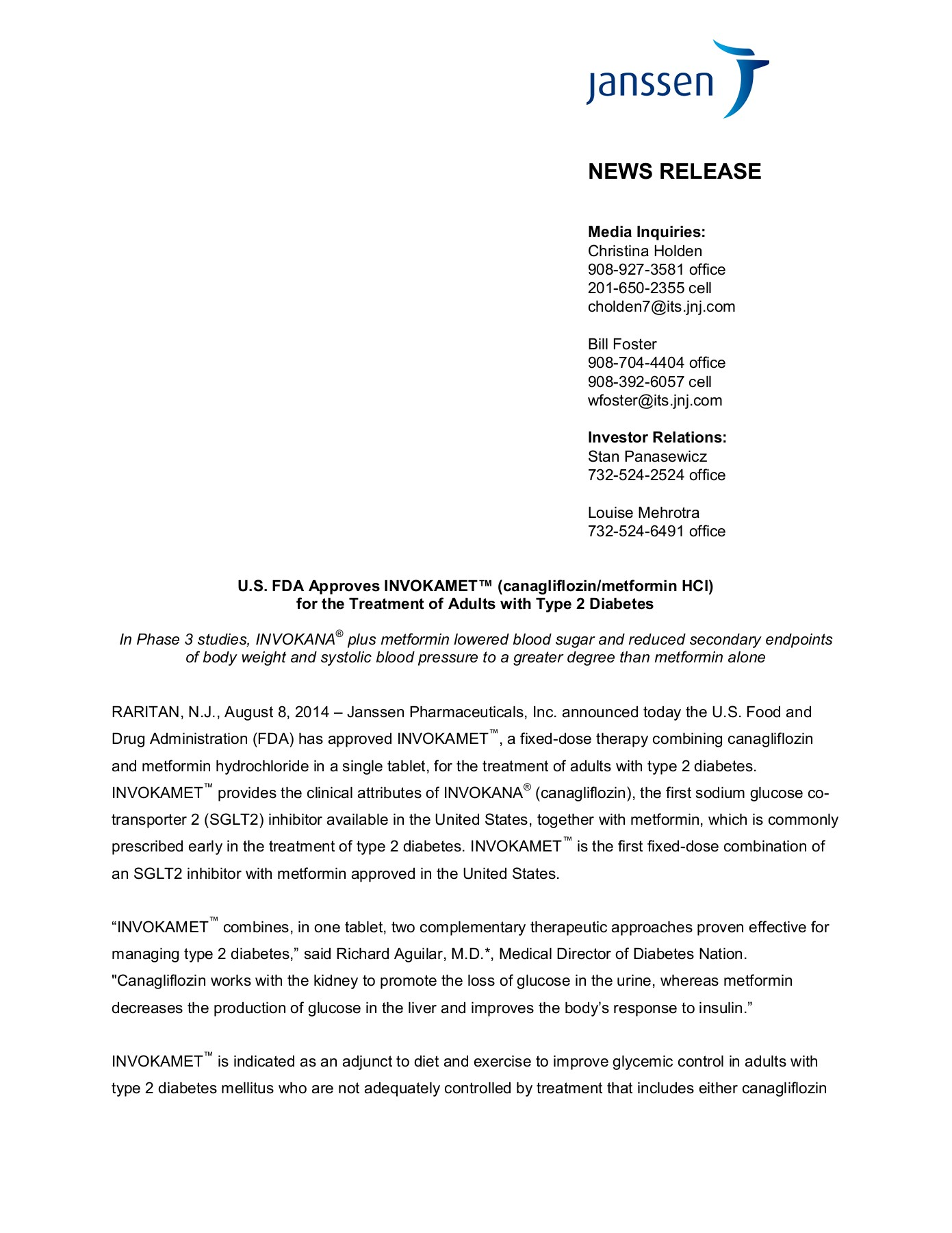 NEWS RELEASE - janssenpharmaceuticalsinc com Pages 1 - 8 - Text