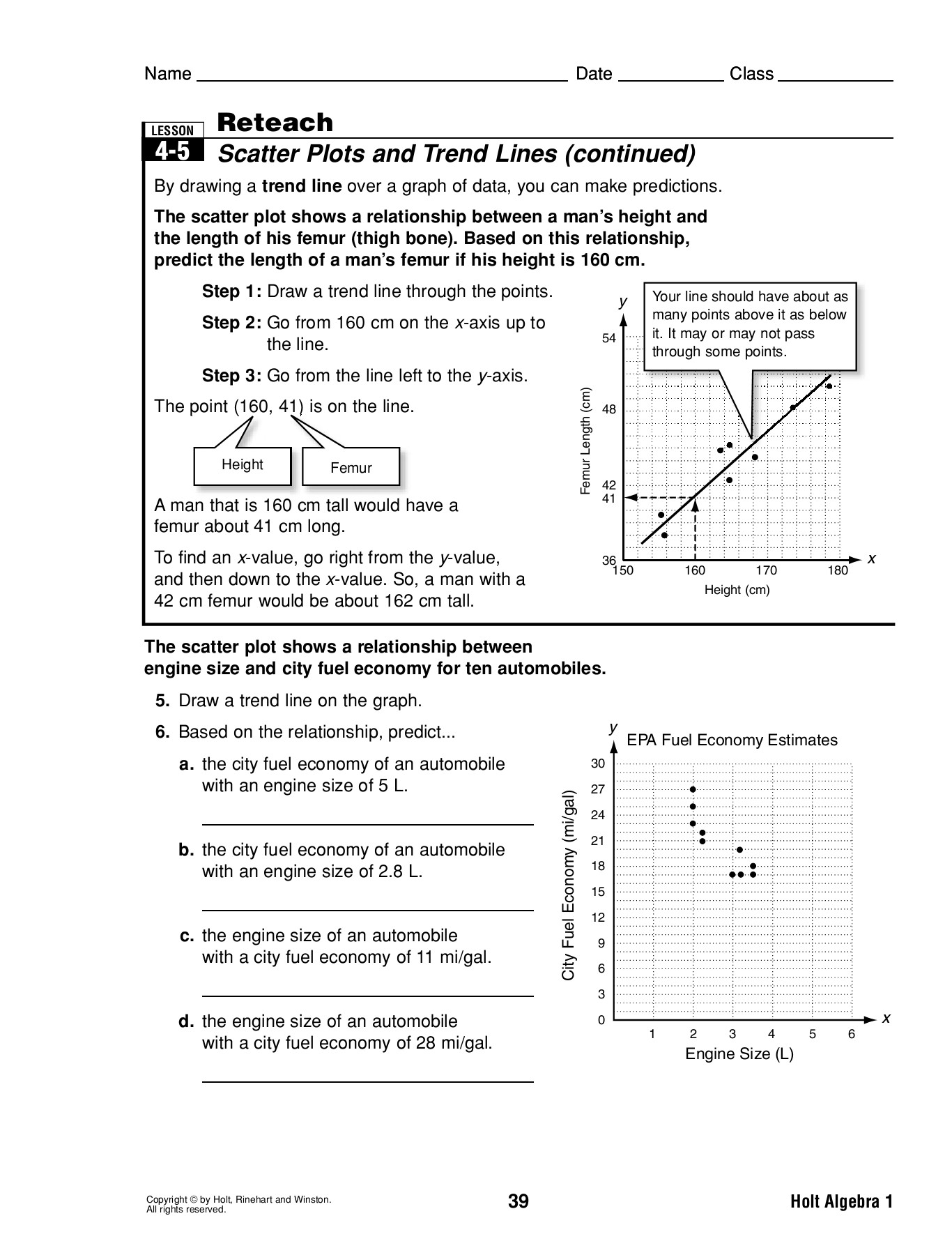 Reteach 4 5 Scatter Plots And Trend Lines Amazon S3 Pages