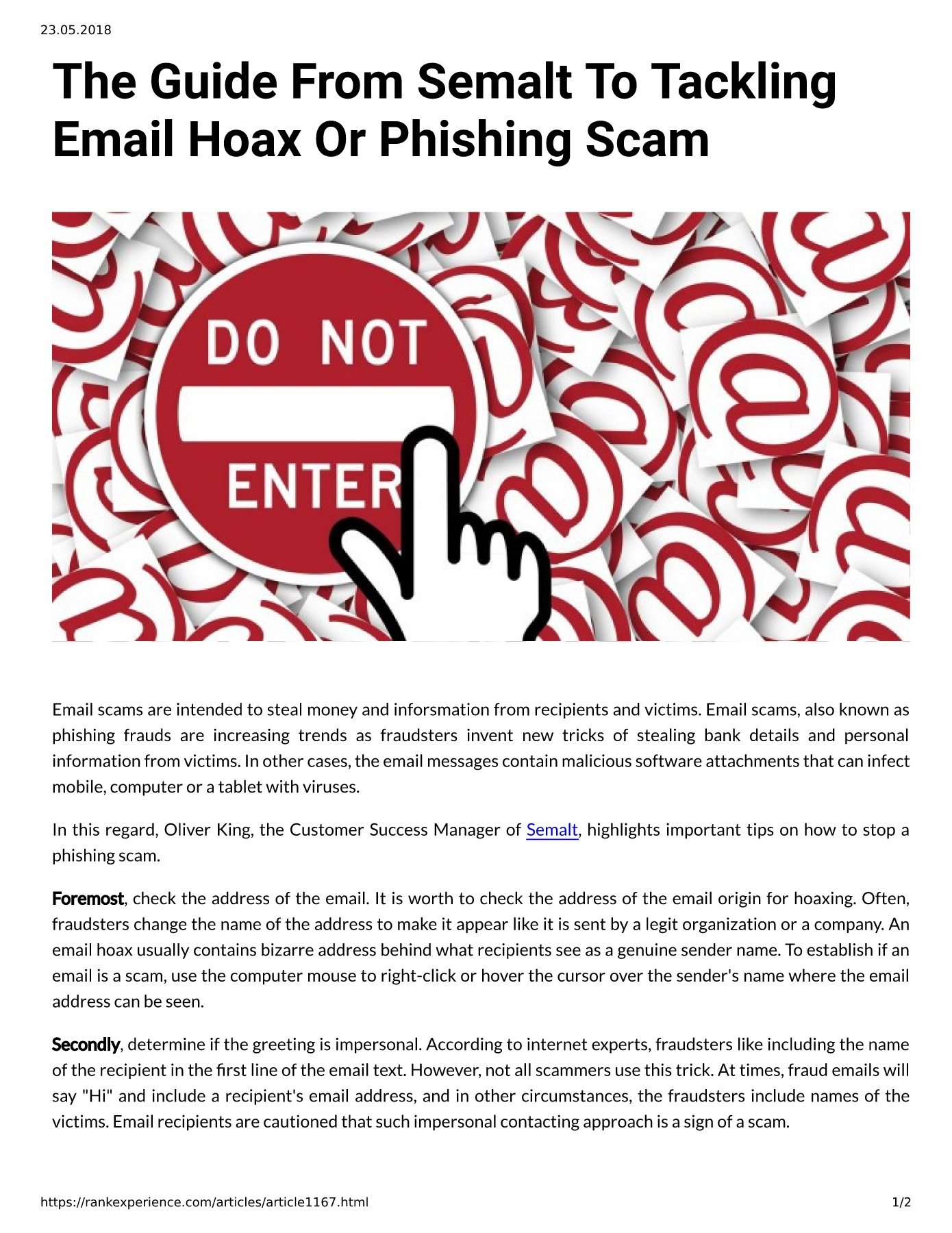 The Guide From Semalt To Tackling Email Hoax Or Phishing Scam Pages