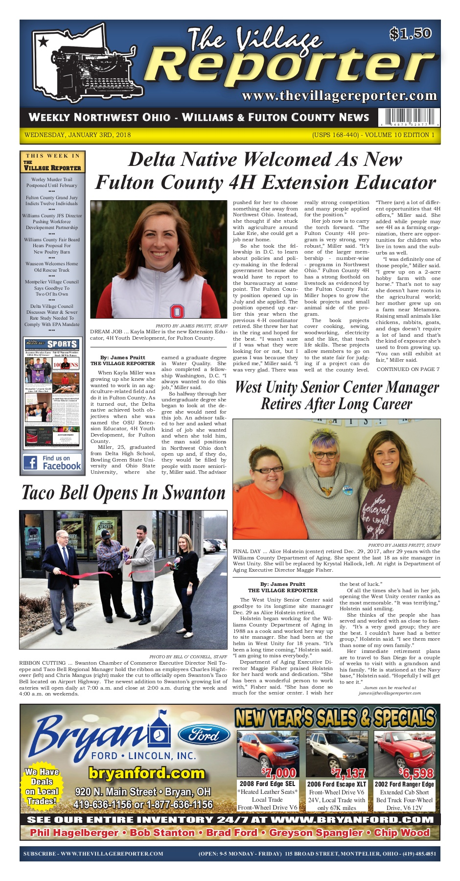 The Village Reporter - January 3rd, 2018 Pages 1 - 28 - Text Version
