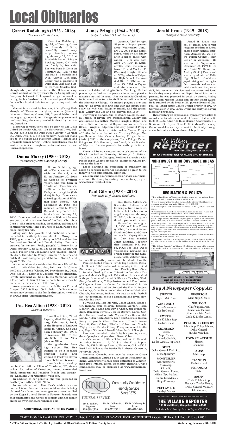 The Village Reporter - February 7th, 2018 Pages 1 - 42 - Text