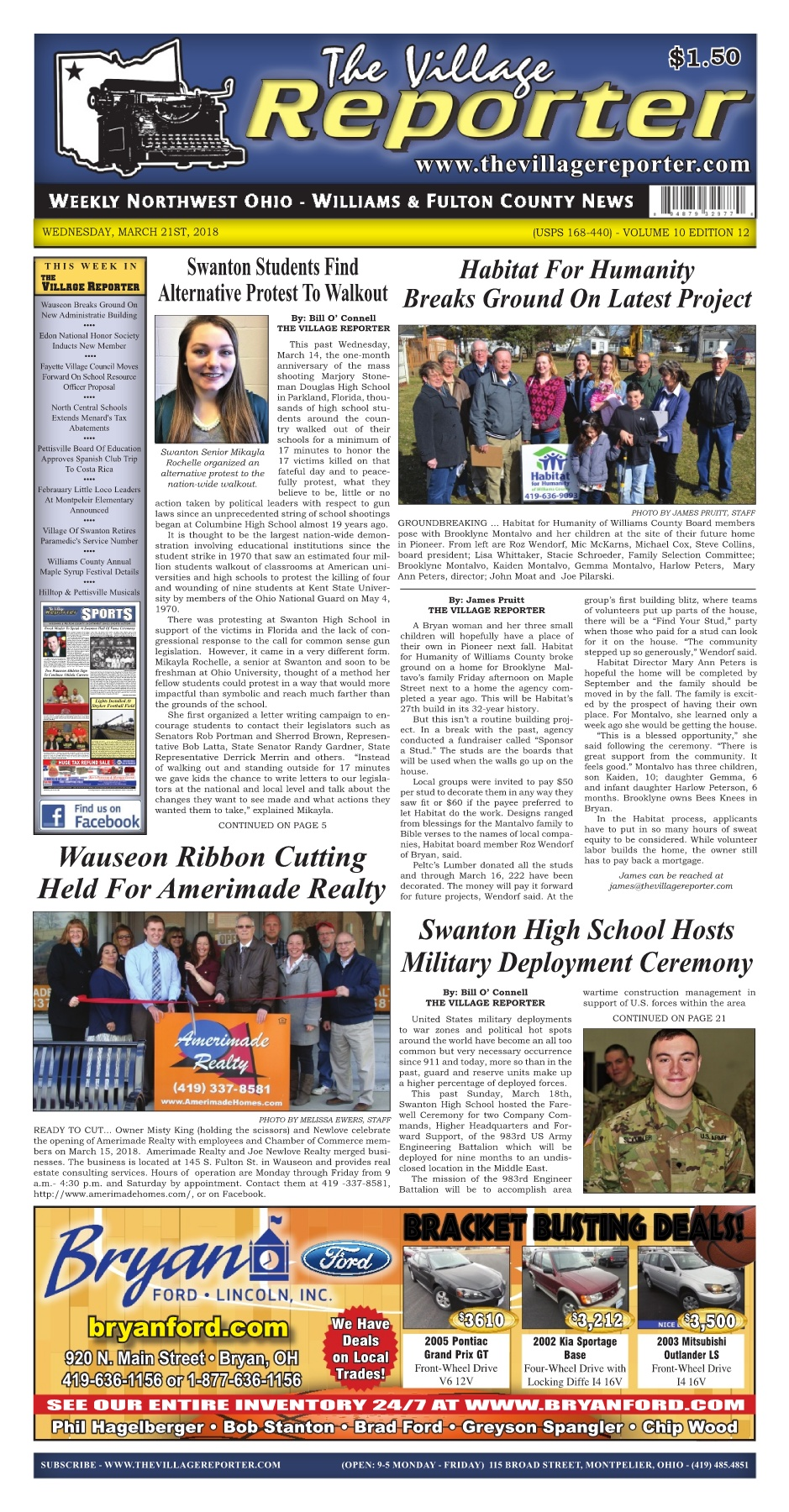 The Village Reporter - March 21st, 2018 Pages 1 - 50 - Text