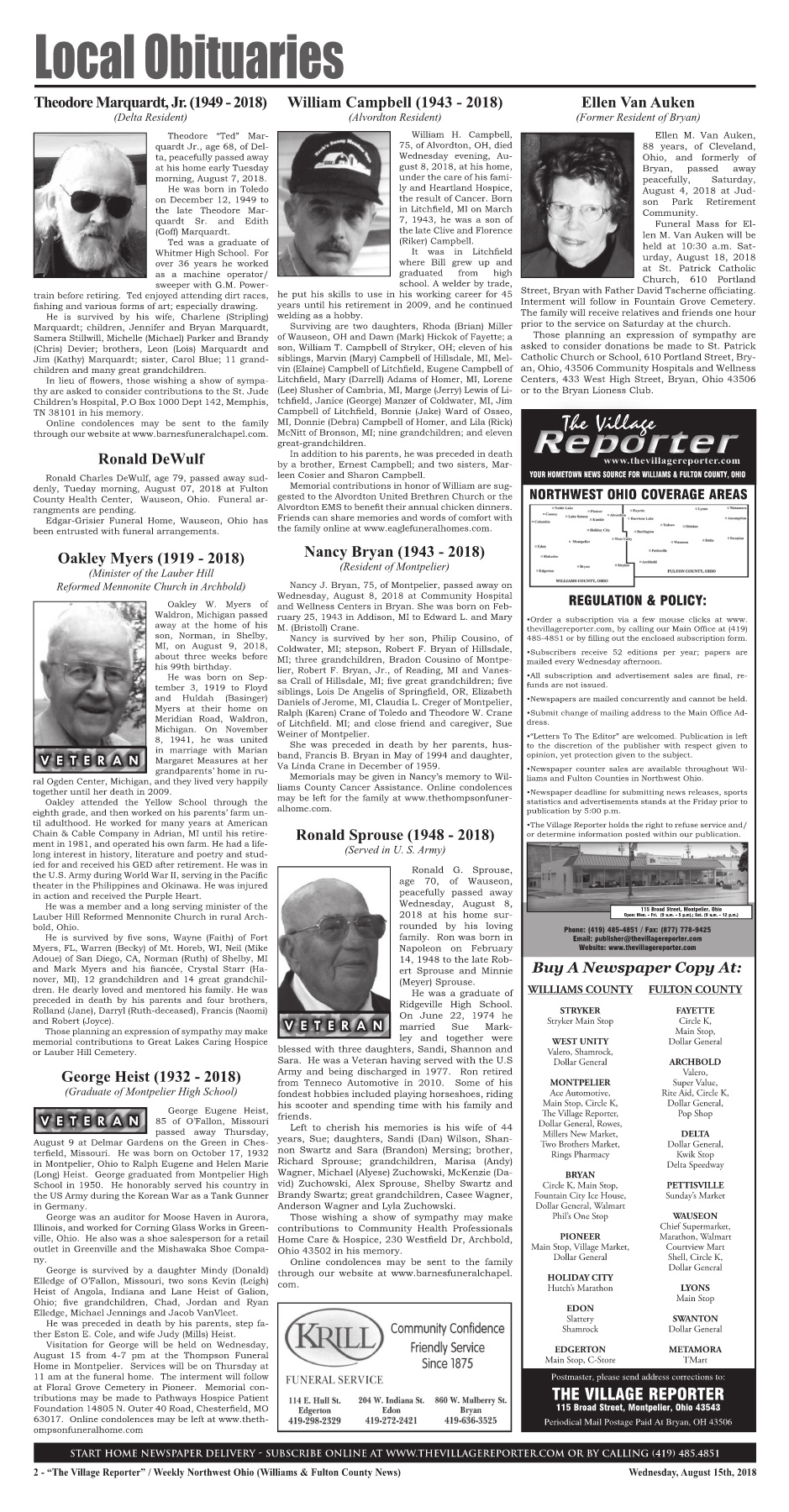 The Village Reporter - August 15th, 2018 (Small) Pages 1 - 42 - Text